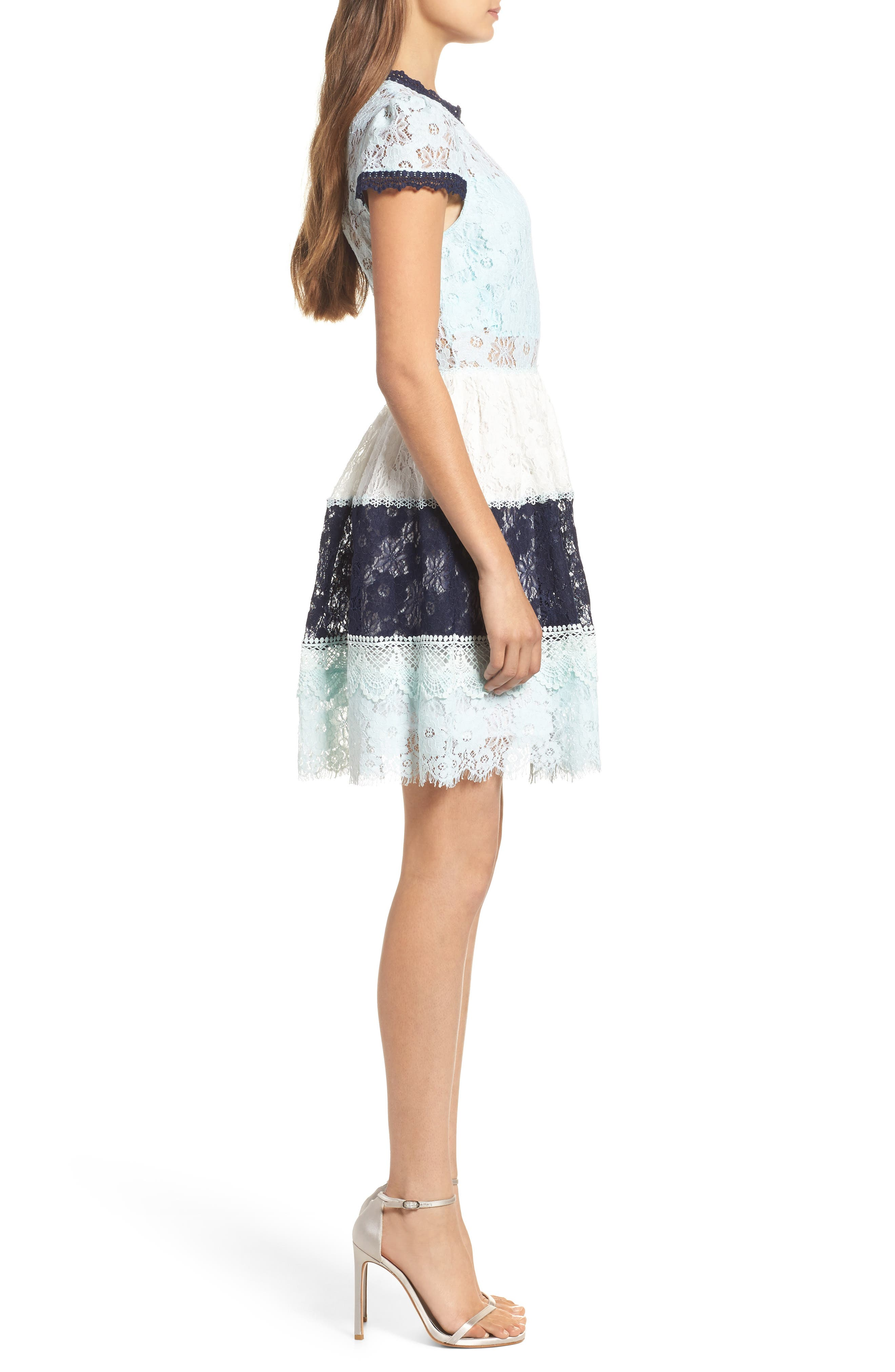 Amelia Lace Fit & Flare Dress,                             Alternate thumbnail 3, color,                             Sky Block