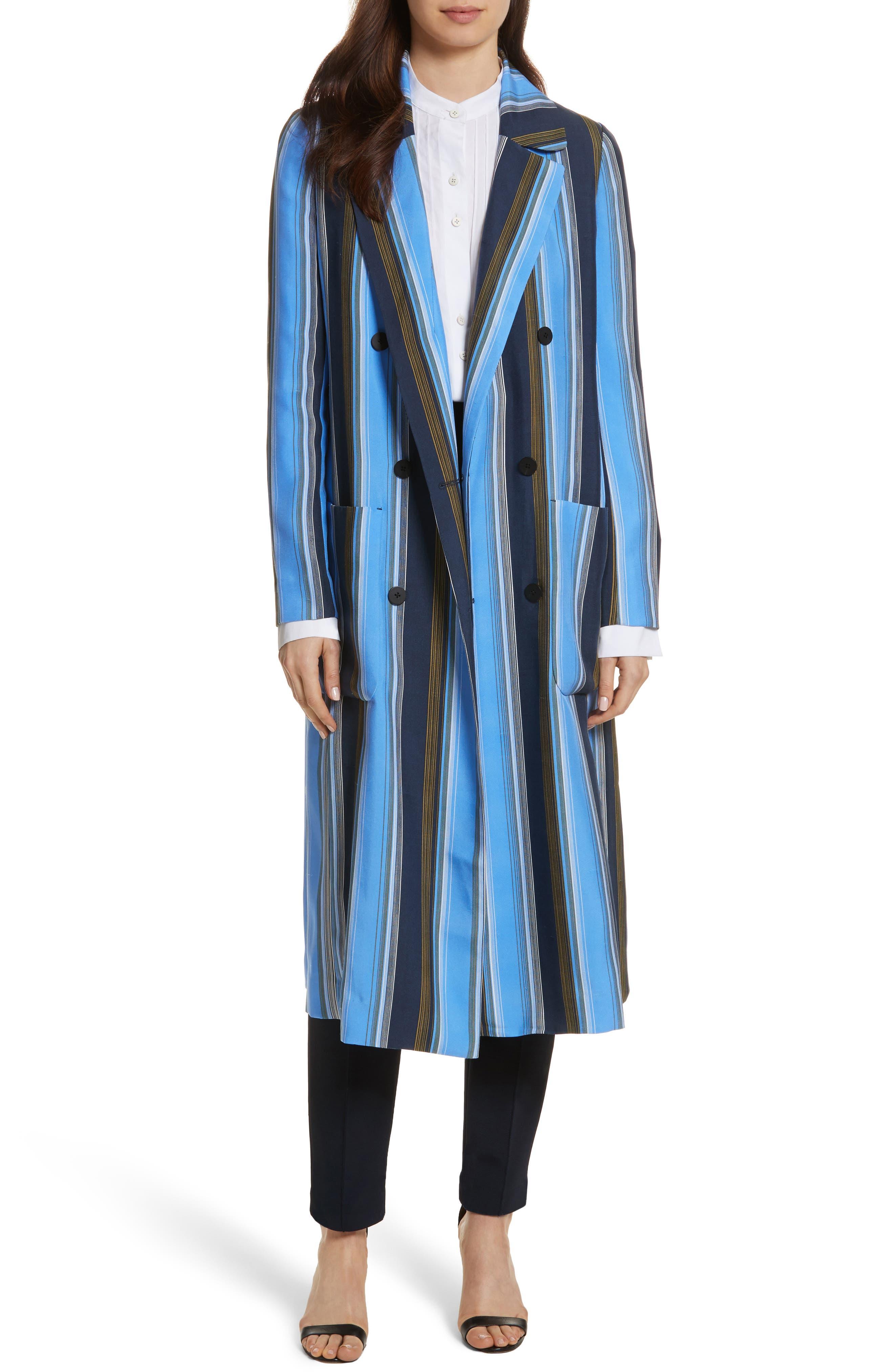 Diane von Furstenberg Stripe Long Silk Jacket