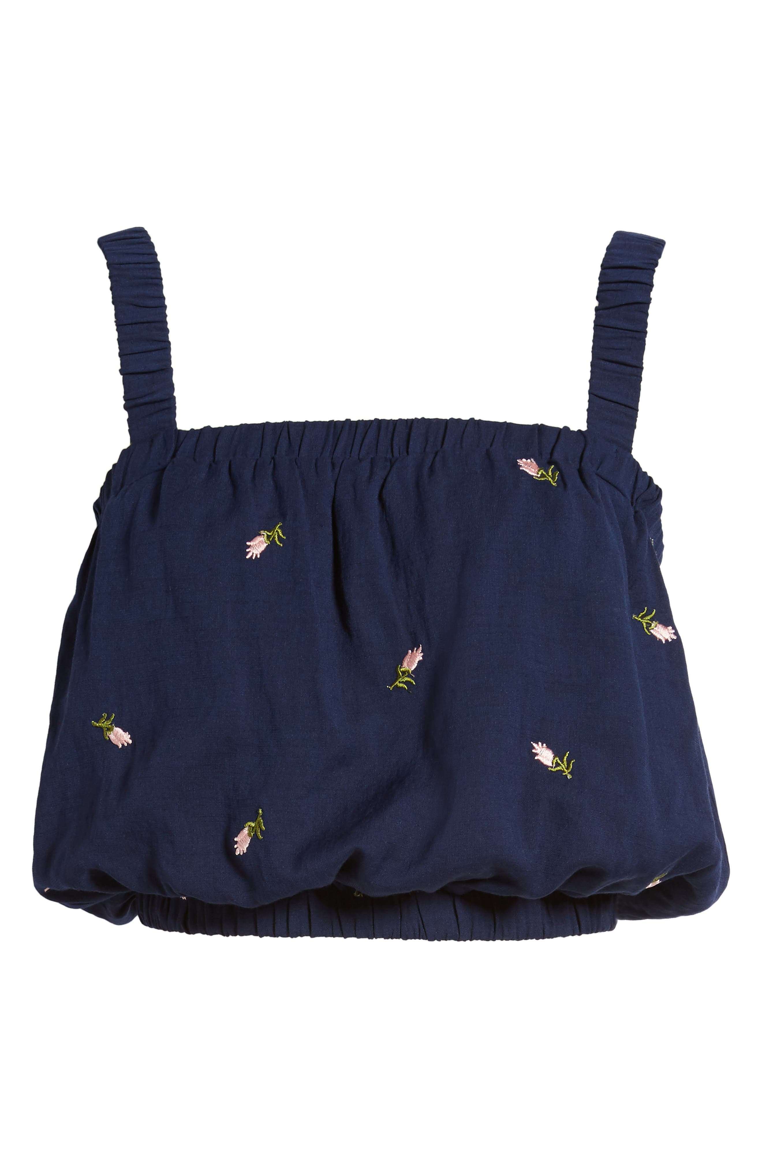Embroidered Crop Top,                             Alternate thumbnail 6, color,                             Navy