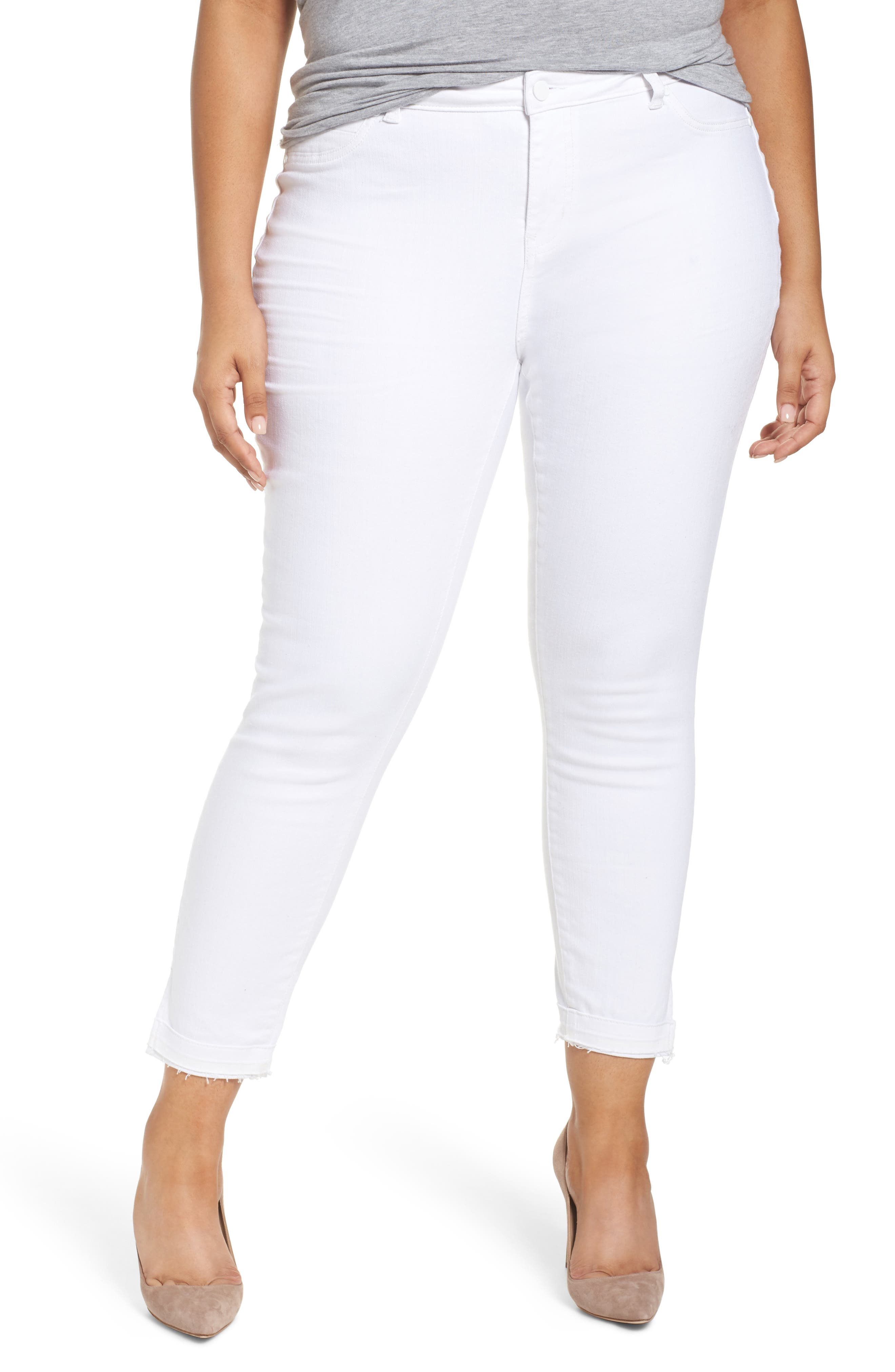 Caslon® Release Hem Skinny Jeans (Plus Size)