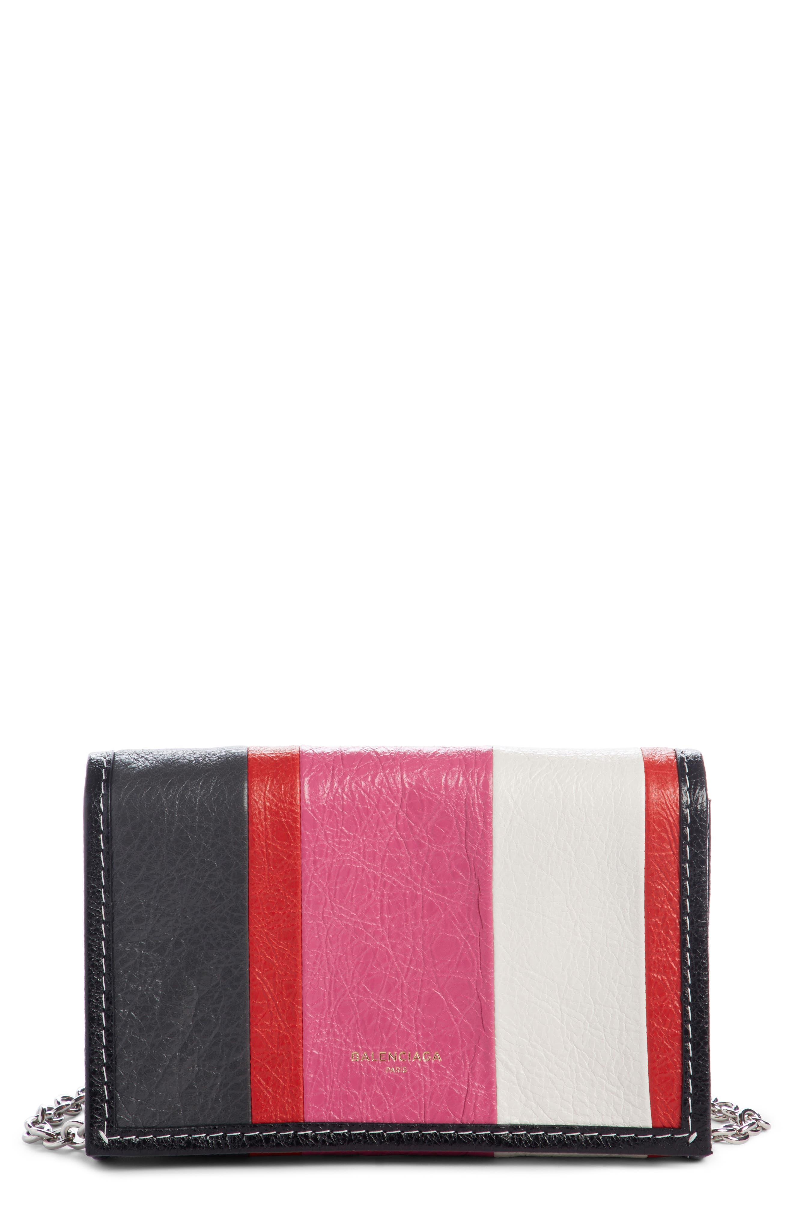 Bazar Leather Wallet on a Chain,                             Main thumbnail 1, color,                             Rose Gris Fssil Blu Noir Roug