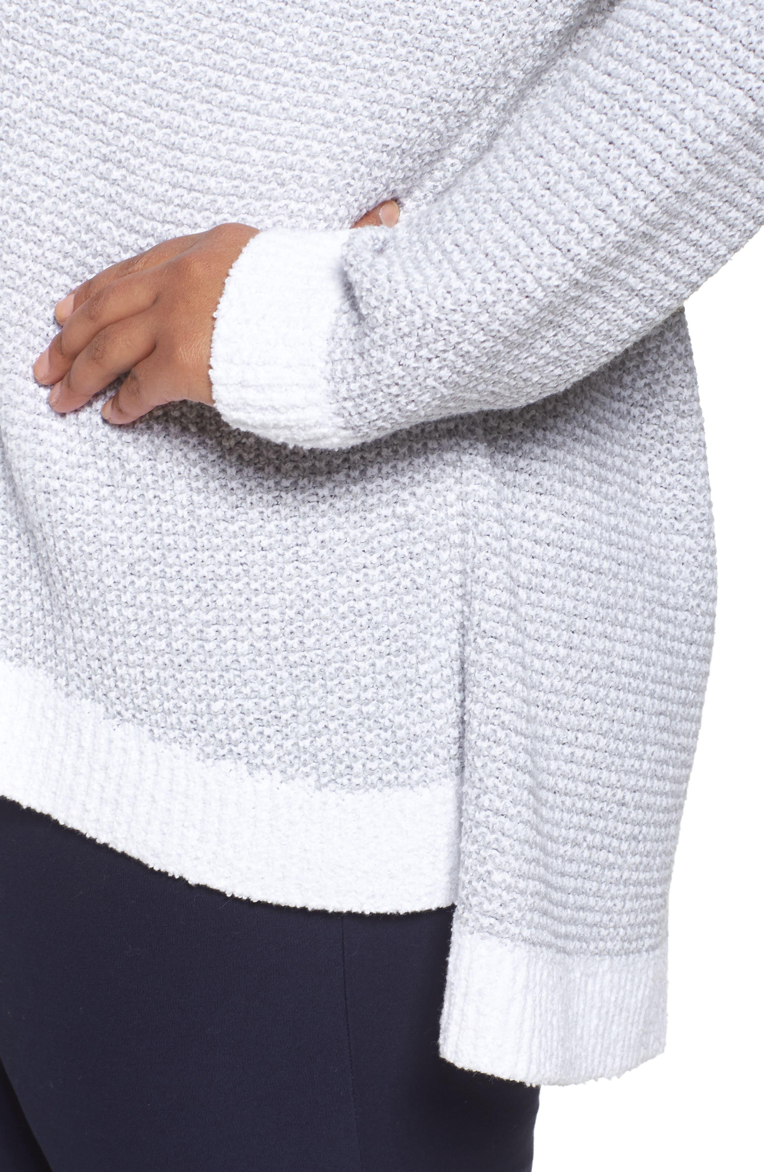 Waffled Organic Cotton Sweater,                             Alternate thumbnail 4, color,                             Grey