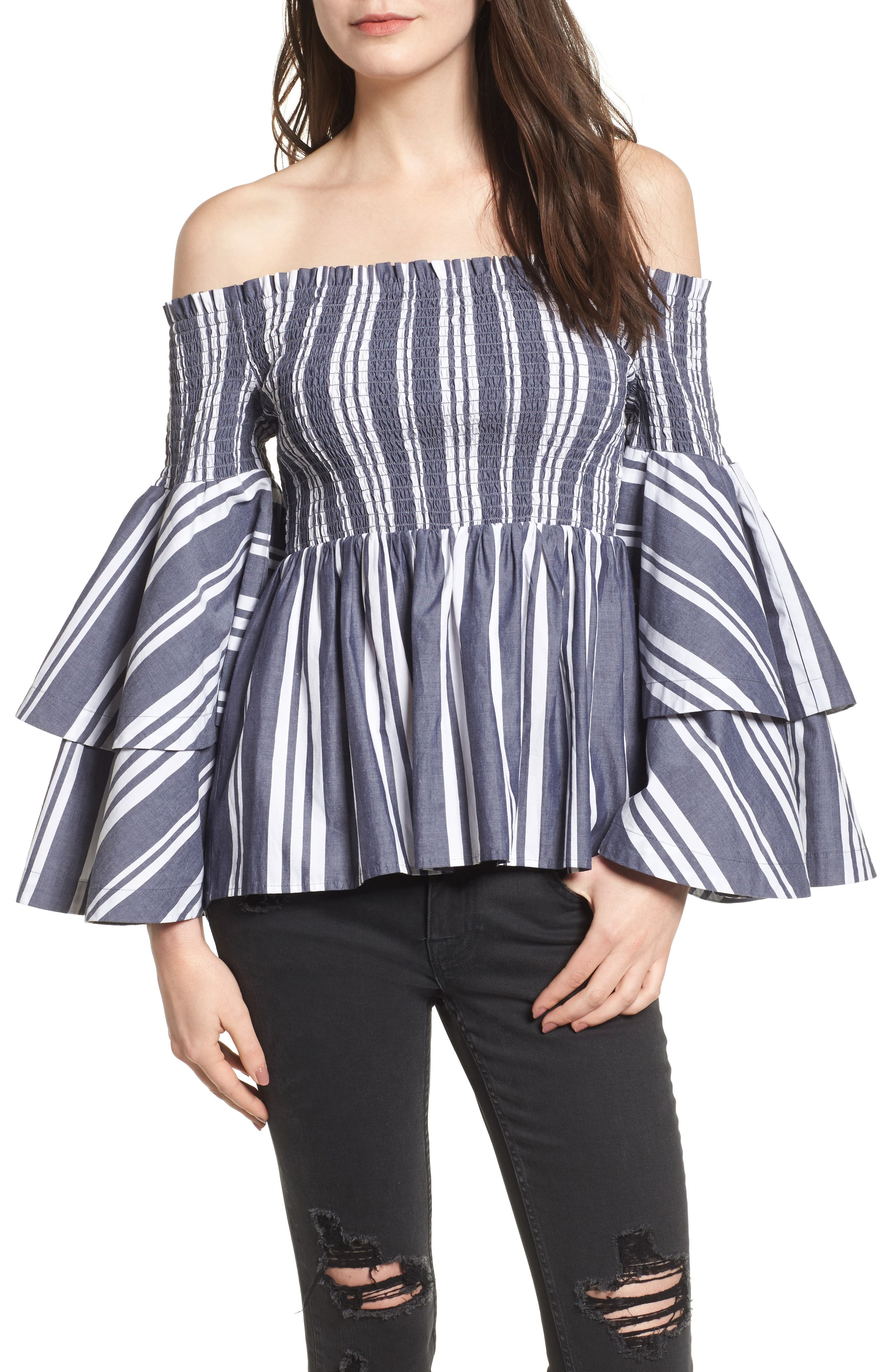 Ruffle Sleeve Off the Shoulder Top,                             Main thumbnail 1, color,                             Navy Peacoat Annie Stripe
