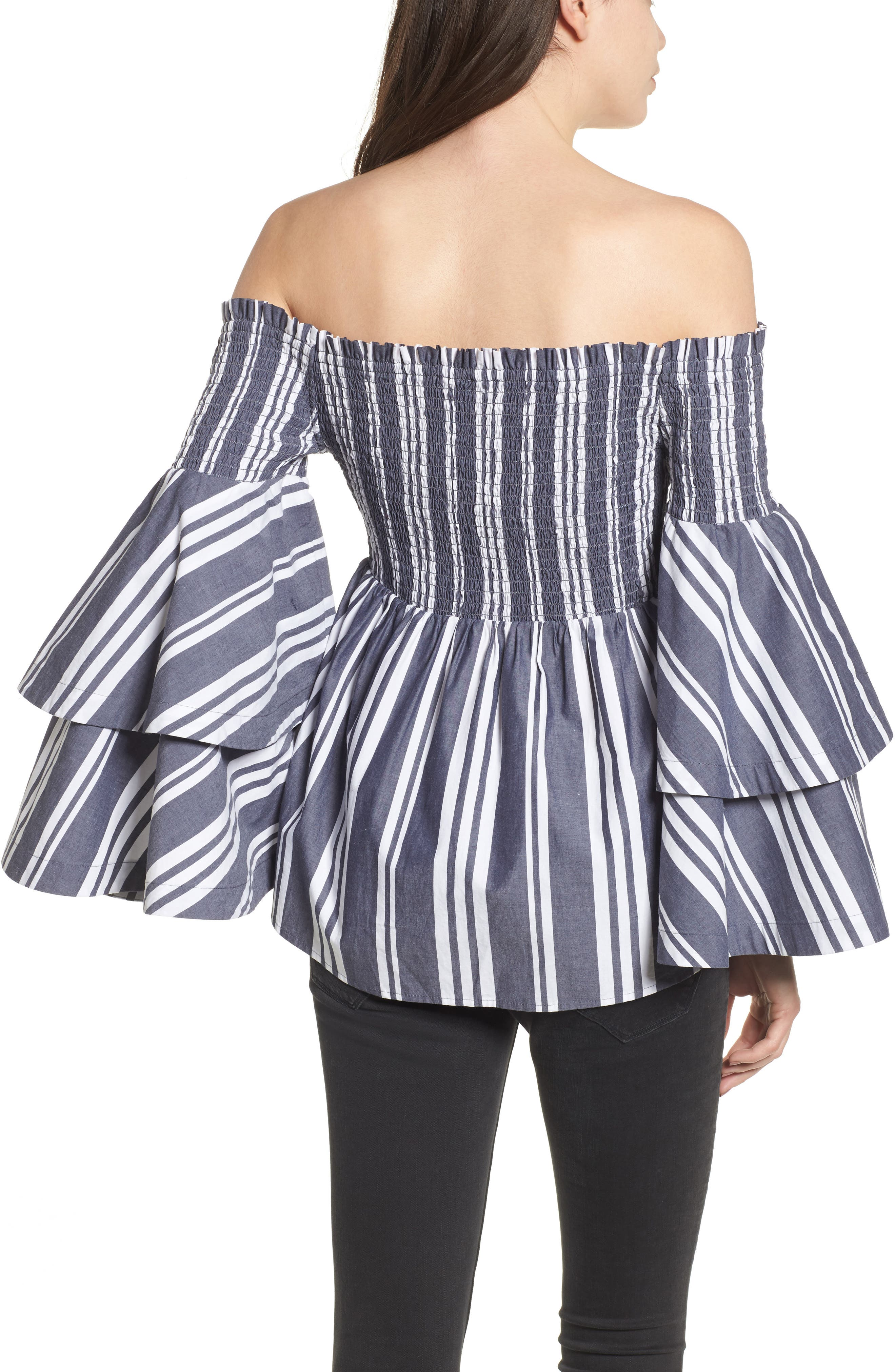 Ruffle Sleeve Off the Shoulder Top,                             Alternate thumbnail 2, color,                             Navy Peacoat Annie Stripe