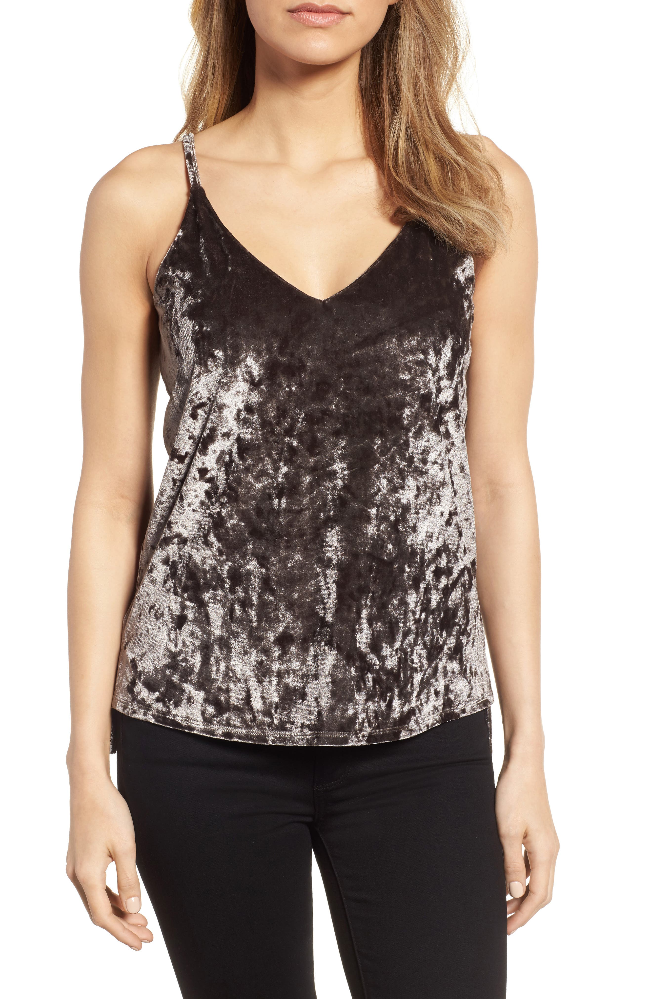 Crushed Velvet Camisole,                         Main,                         color, Smoke