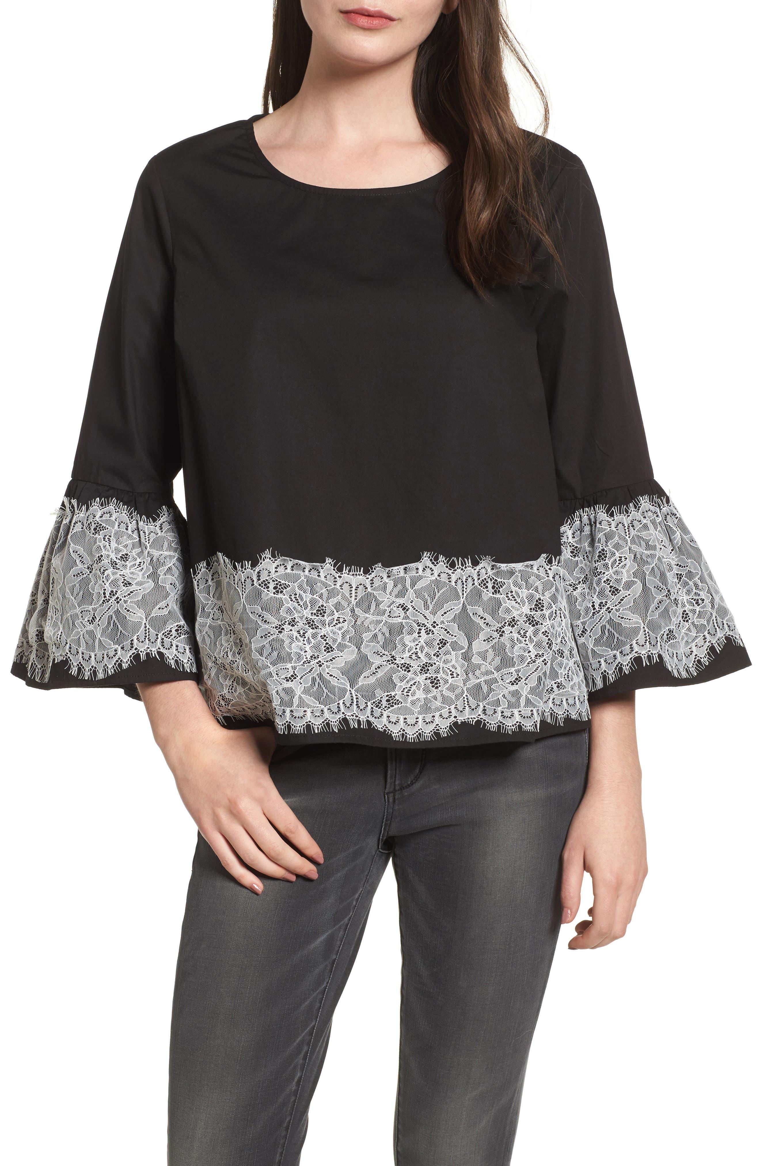 Lace Trim Top,                         Main,                         color, Black/ White