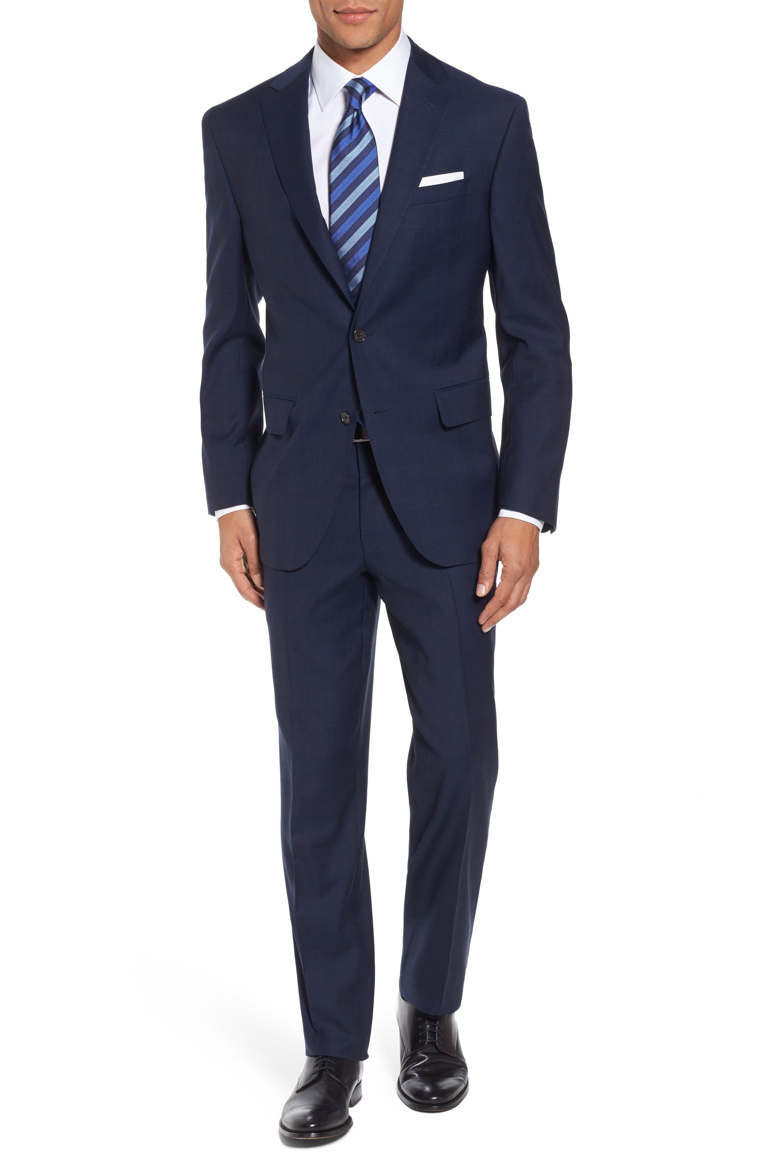 Ryan Classic Fit Plaid Wool Suit,                         Main,                         color, Navy