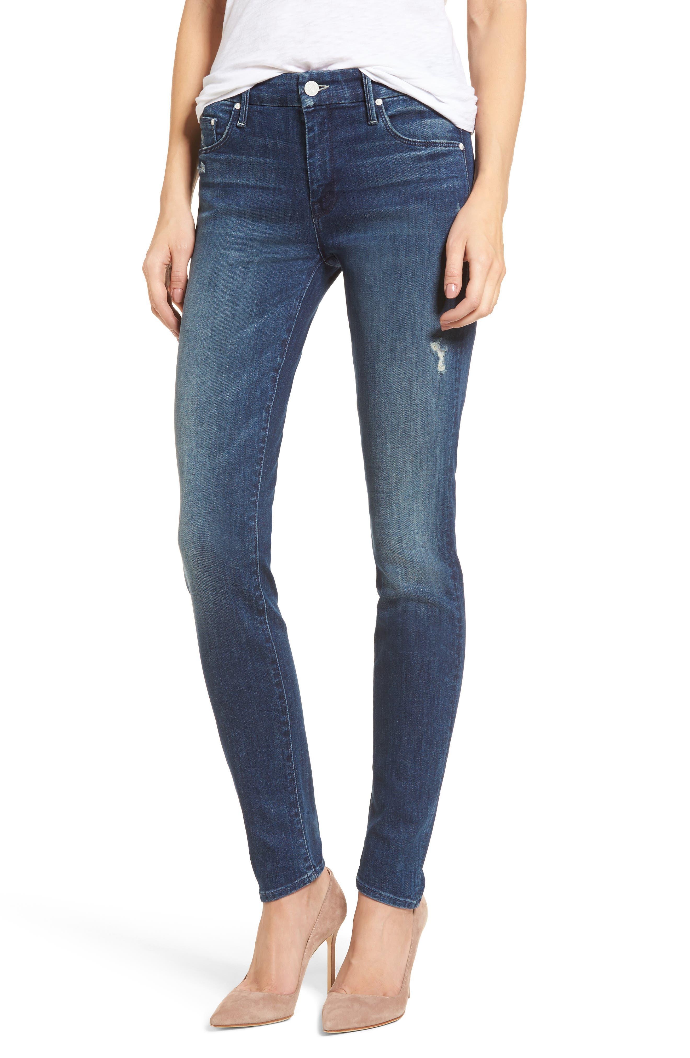 MOTHER The Looker High Waist Skinny Jeans (Dark Graffiti)
