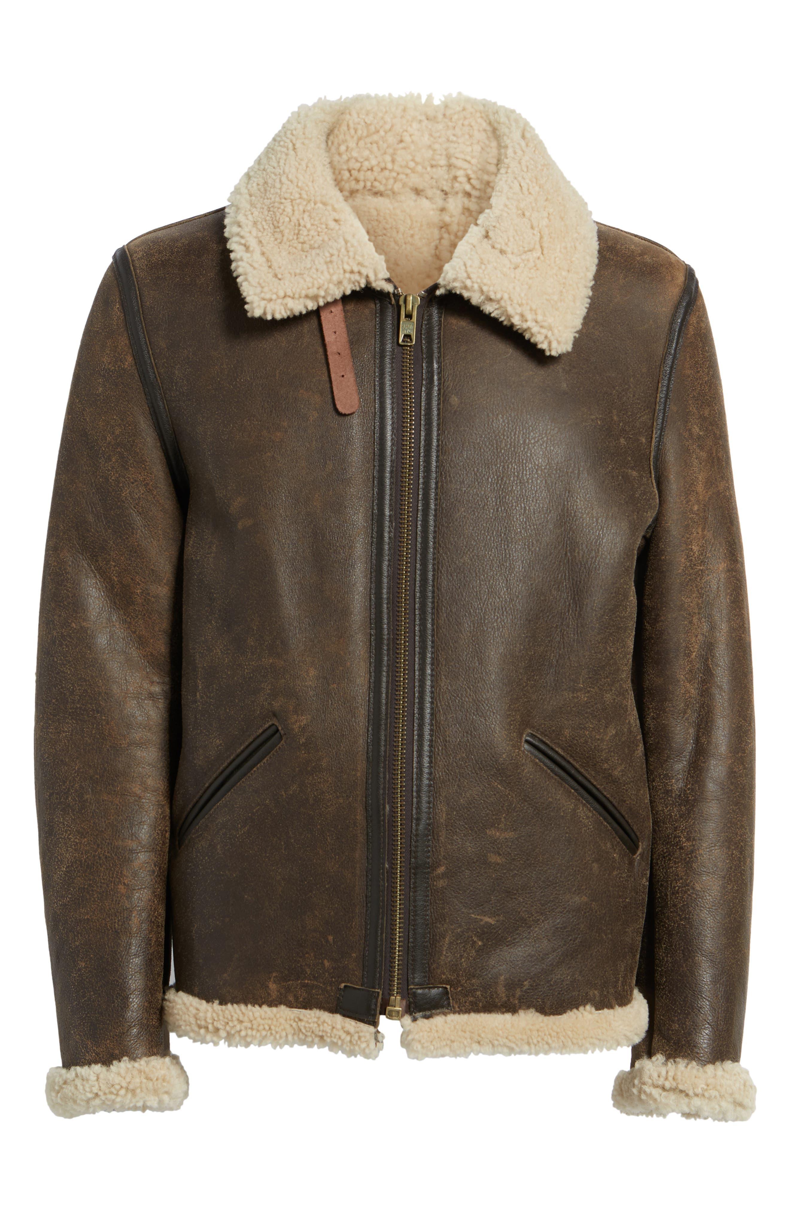 Genuine Shearling Vintage B-6 Bomber Jacket,                             Alternate thumbnail 6, color,                             Brown