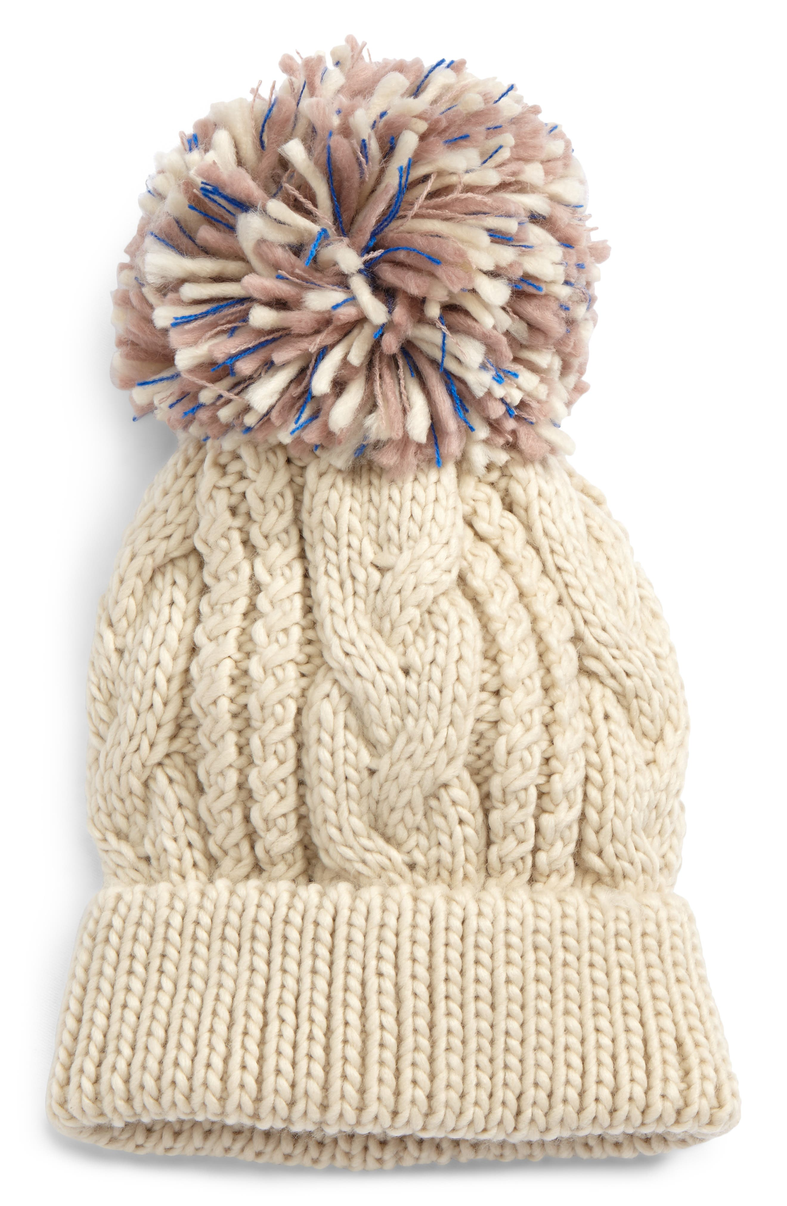 BP. Pompom Cable Knit Beanie