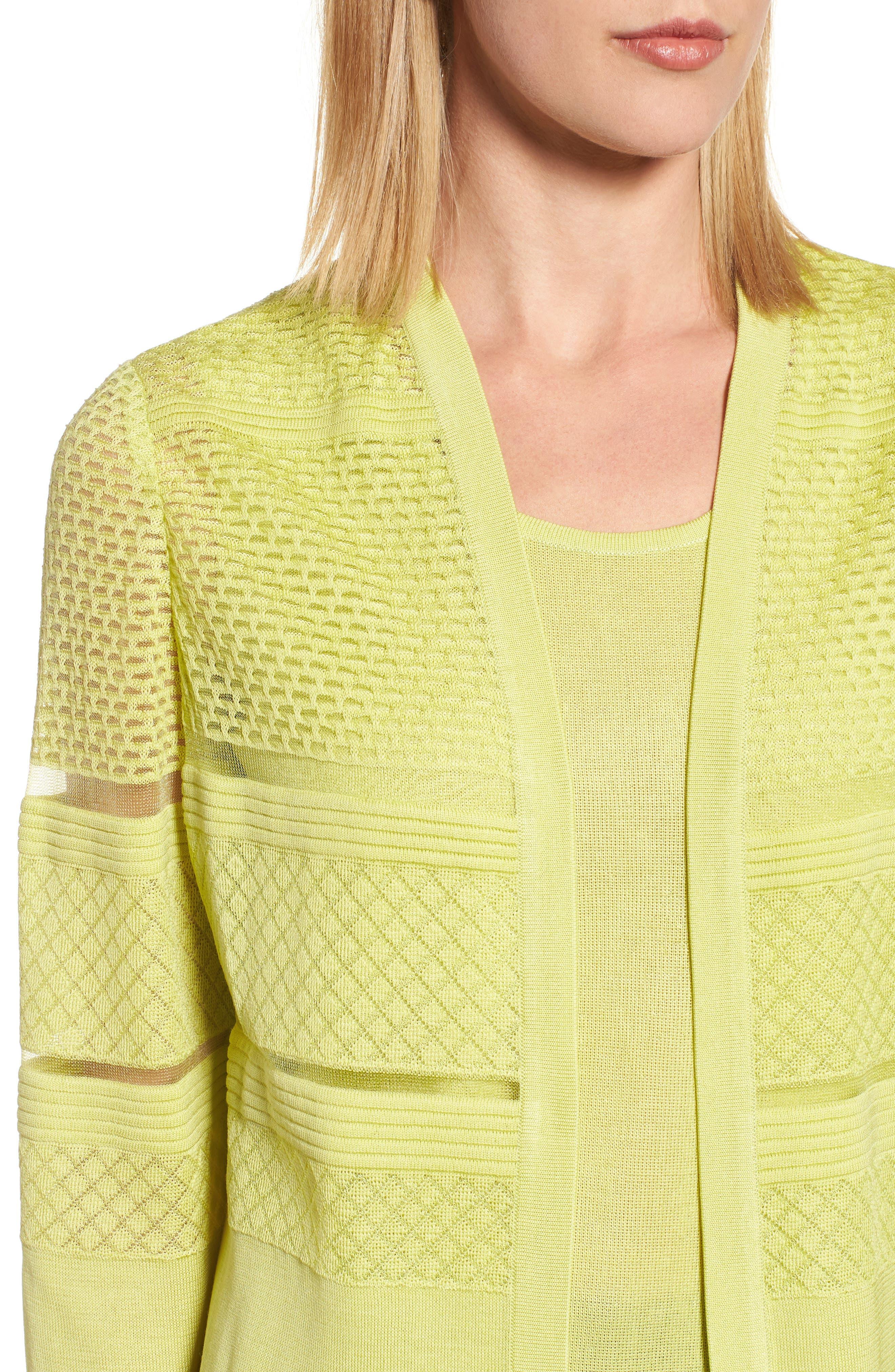 Long Jacquard Knit Jacket,                             Alternate thumbnail 4, color,                             Aurora