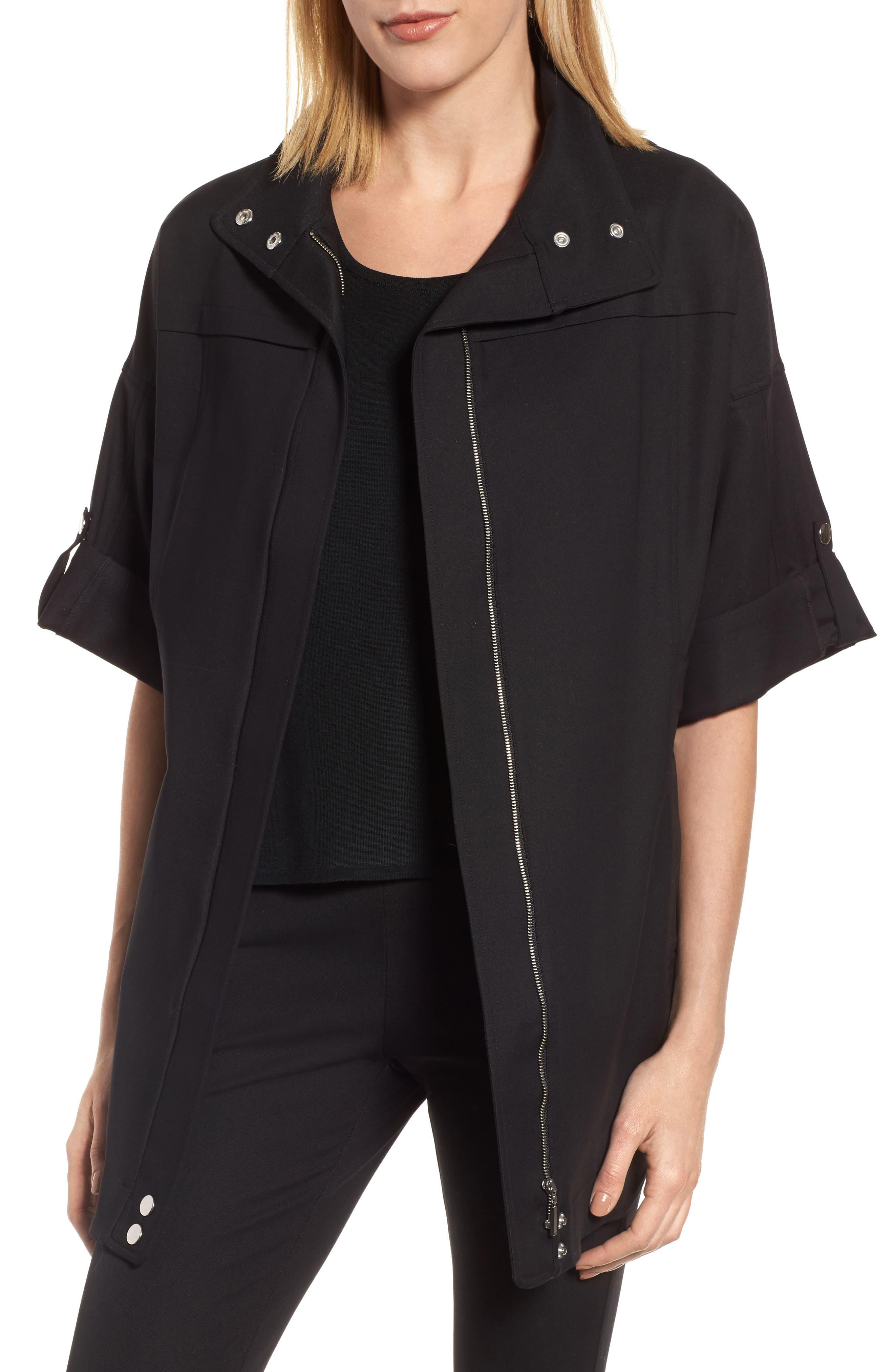 Tie Back Woven Jacket,                         Main,                         color, Black