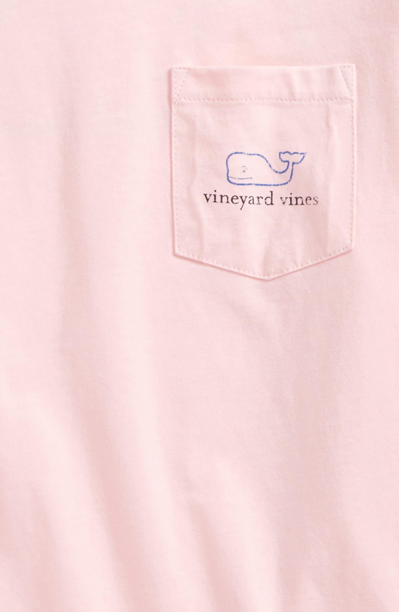 Vintage Whale Long Sleeve Pocket T-Shirt,                             Alternate thumbnail 3, color,                             Flamingo