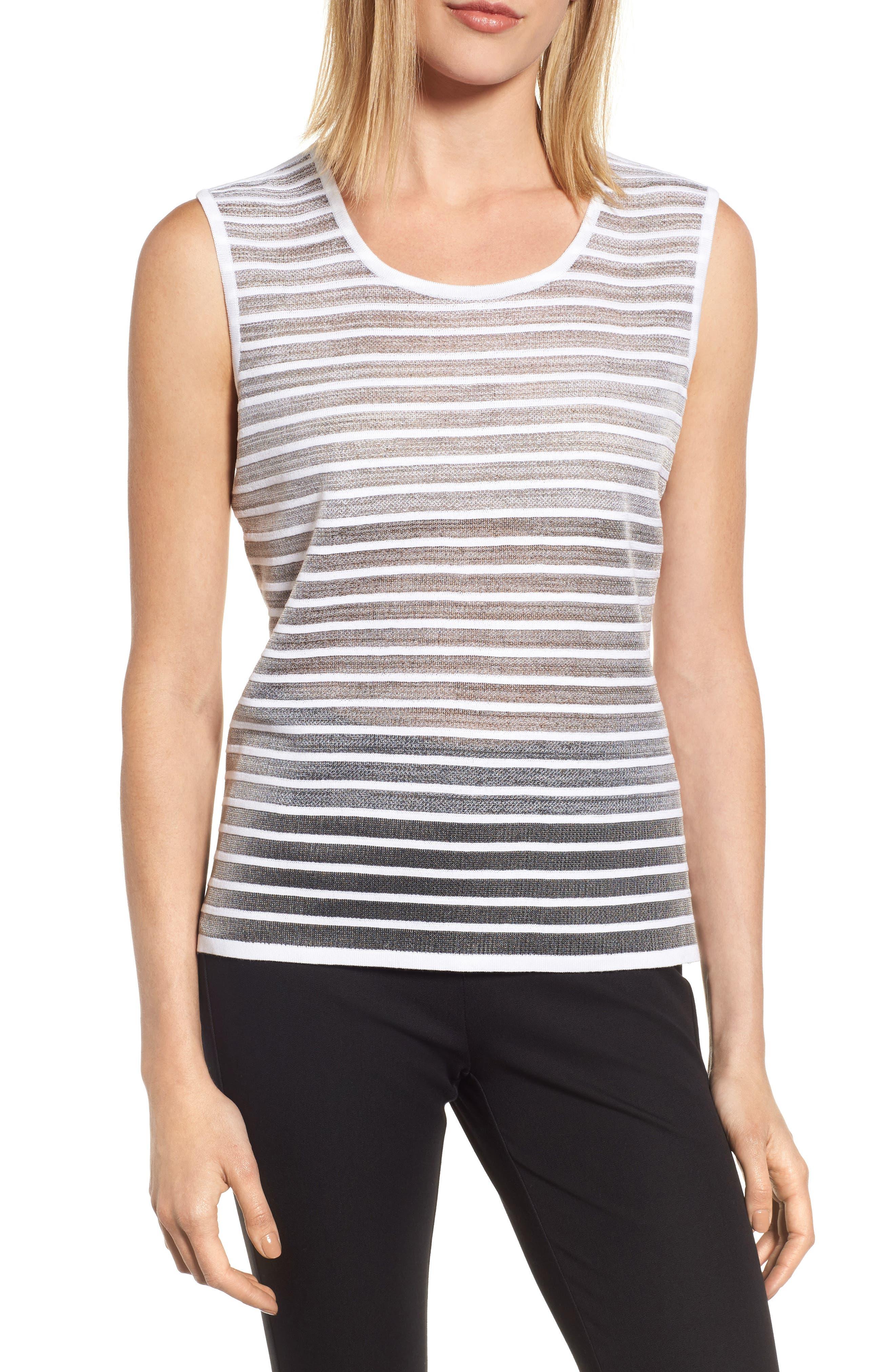 Reversible Knit Tank,                         Main,                         color, White/ Black