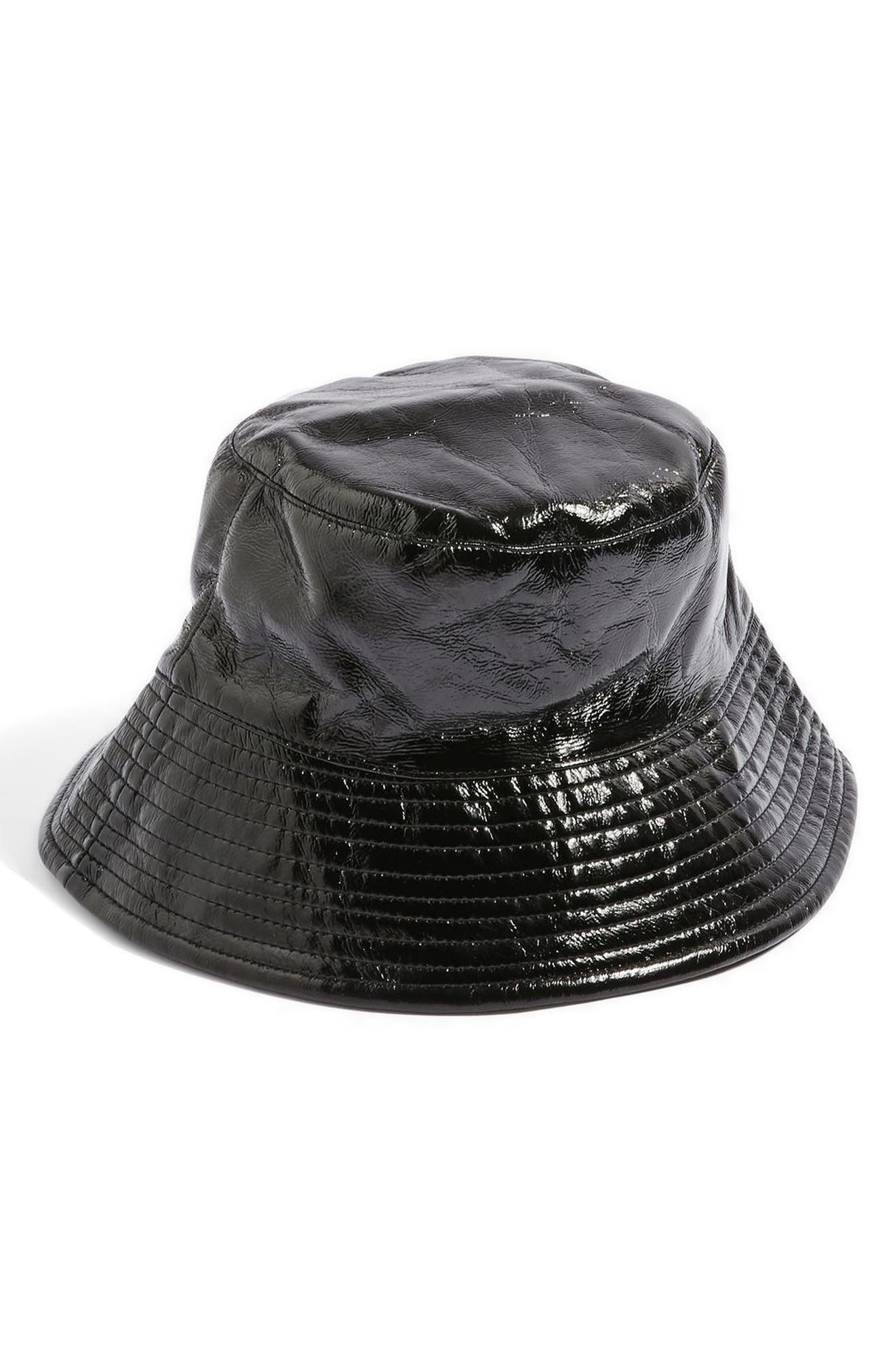 Vinyl Bucket Hat,                             Main thumbnail 1, color,                             Black
