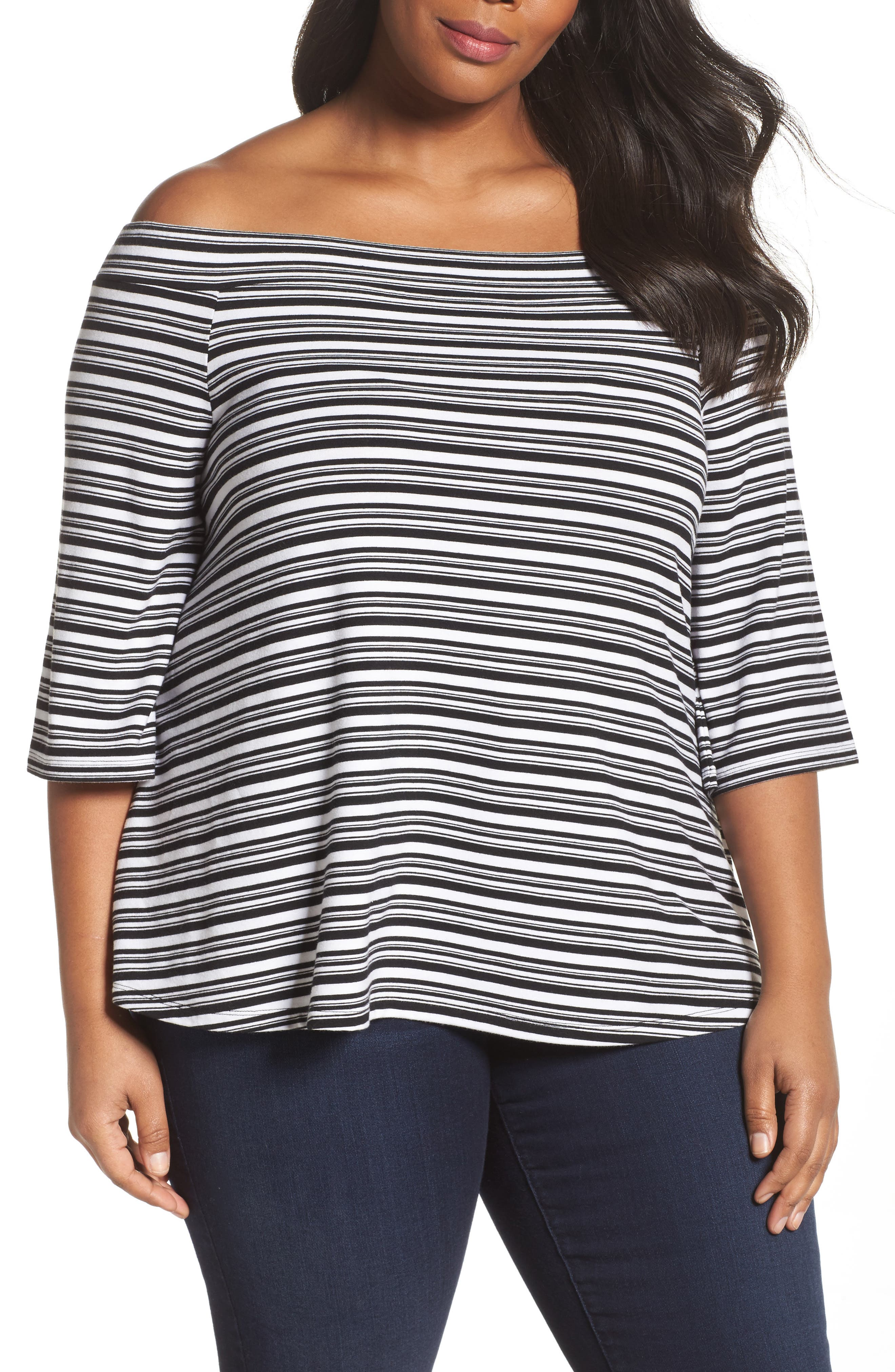 Stripe Off the Shoulder Top,                             Main thumbnail 1, color,                             Black- White Veriegated Stripe