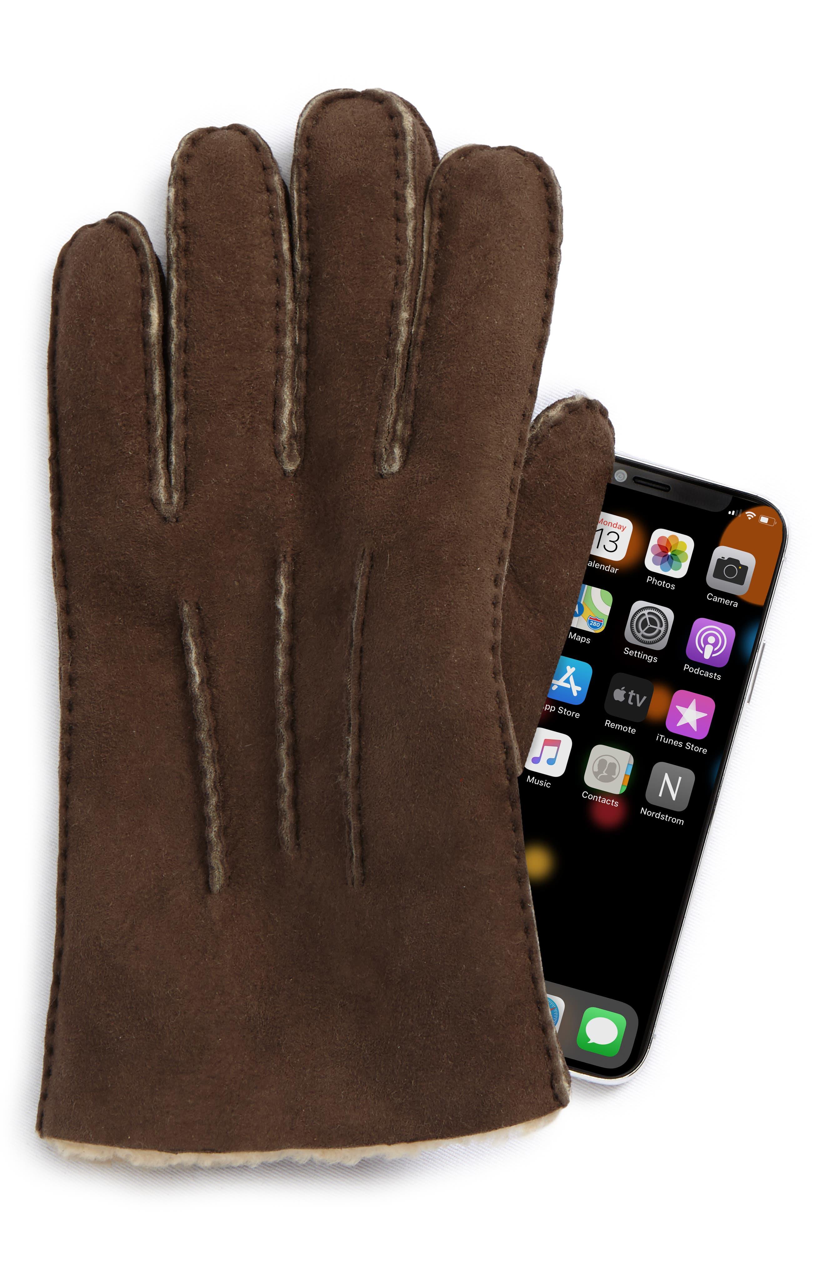 UGG Smart Sheepskin Shearling Leather Gloves,                             Alternate thumbnail 3, color,                             Slate Curly