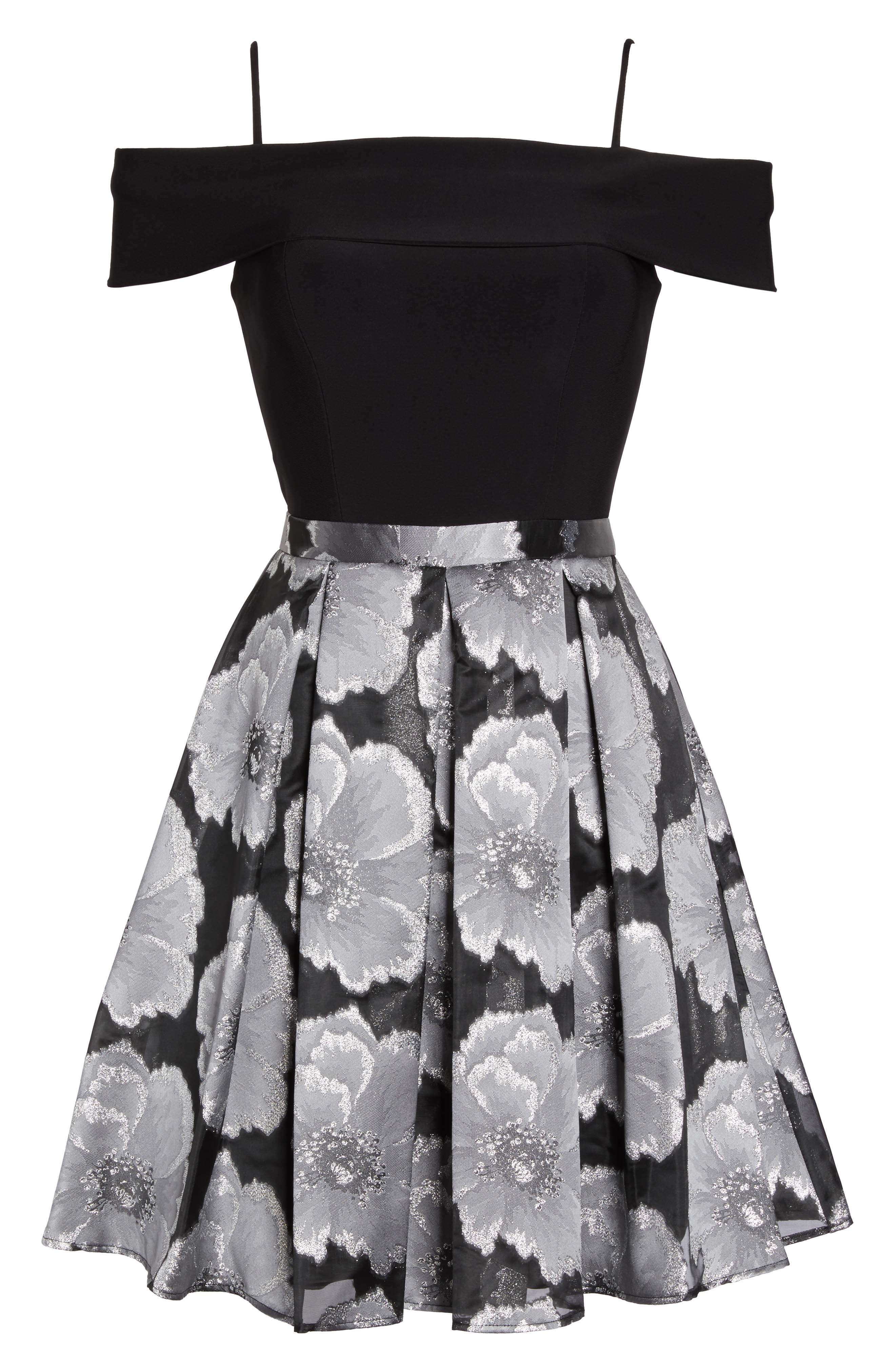 Mixed Media Off the Shoulder Dress,                             Alternate thumbnail 6, color,                             Black/ Silver