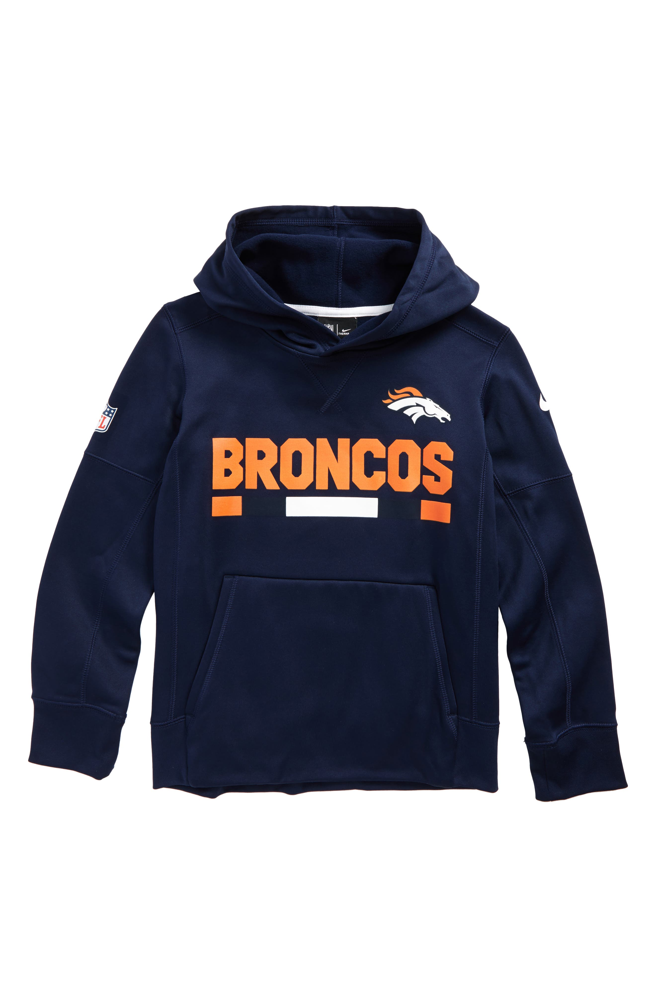 Nike Therma Denver Broncos Hoodie,                             Main thumbnail 1, color,                             College Navy
