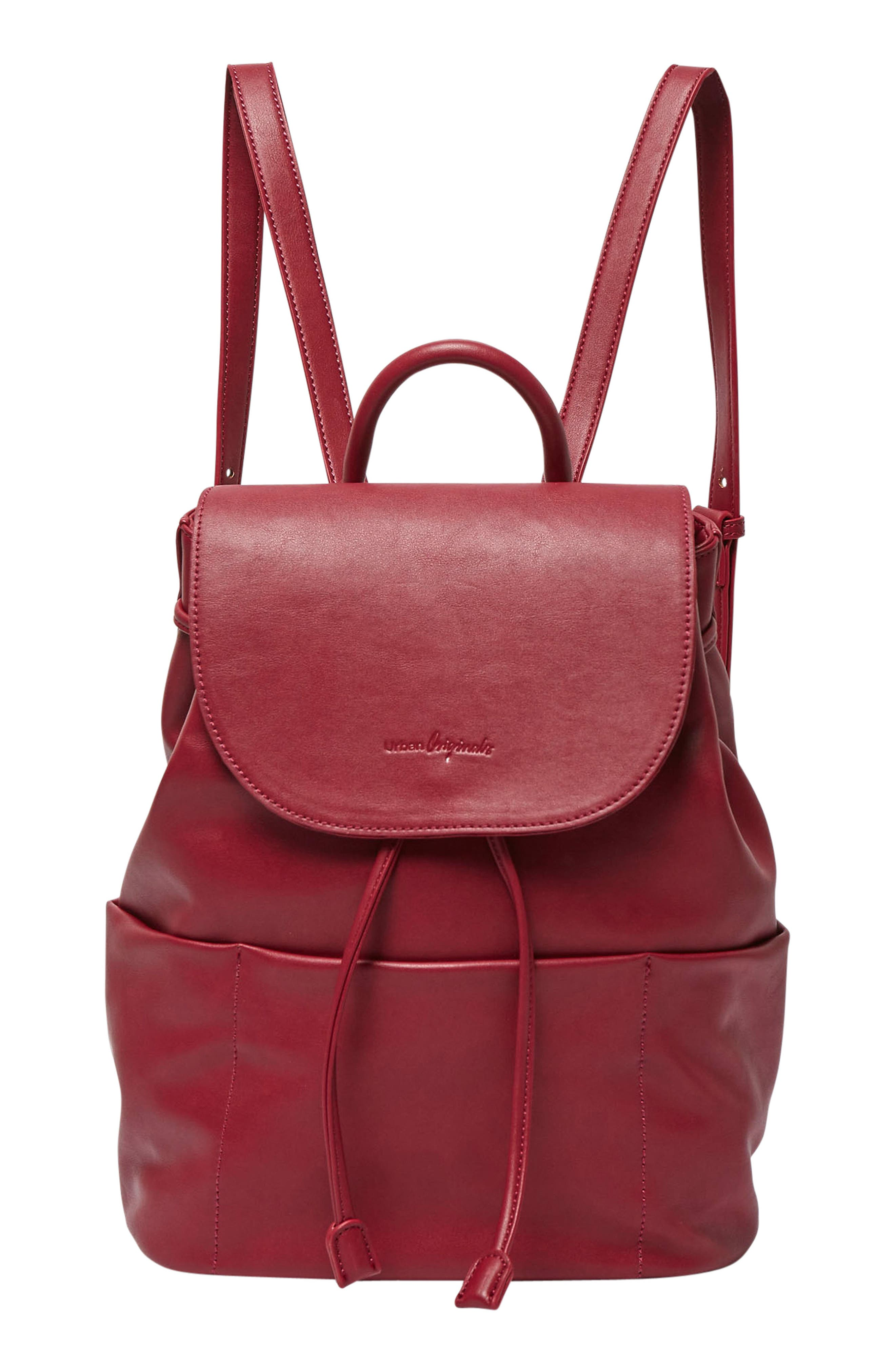 Splendour Vegan Leather Backpack,                         Main,                         color, Cranberry
