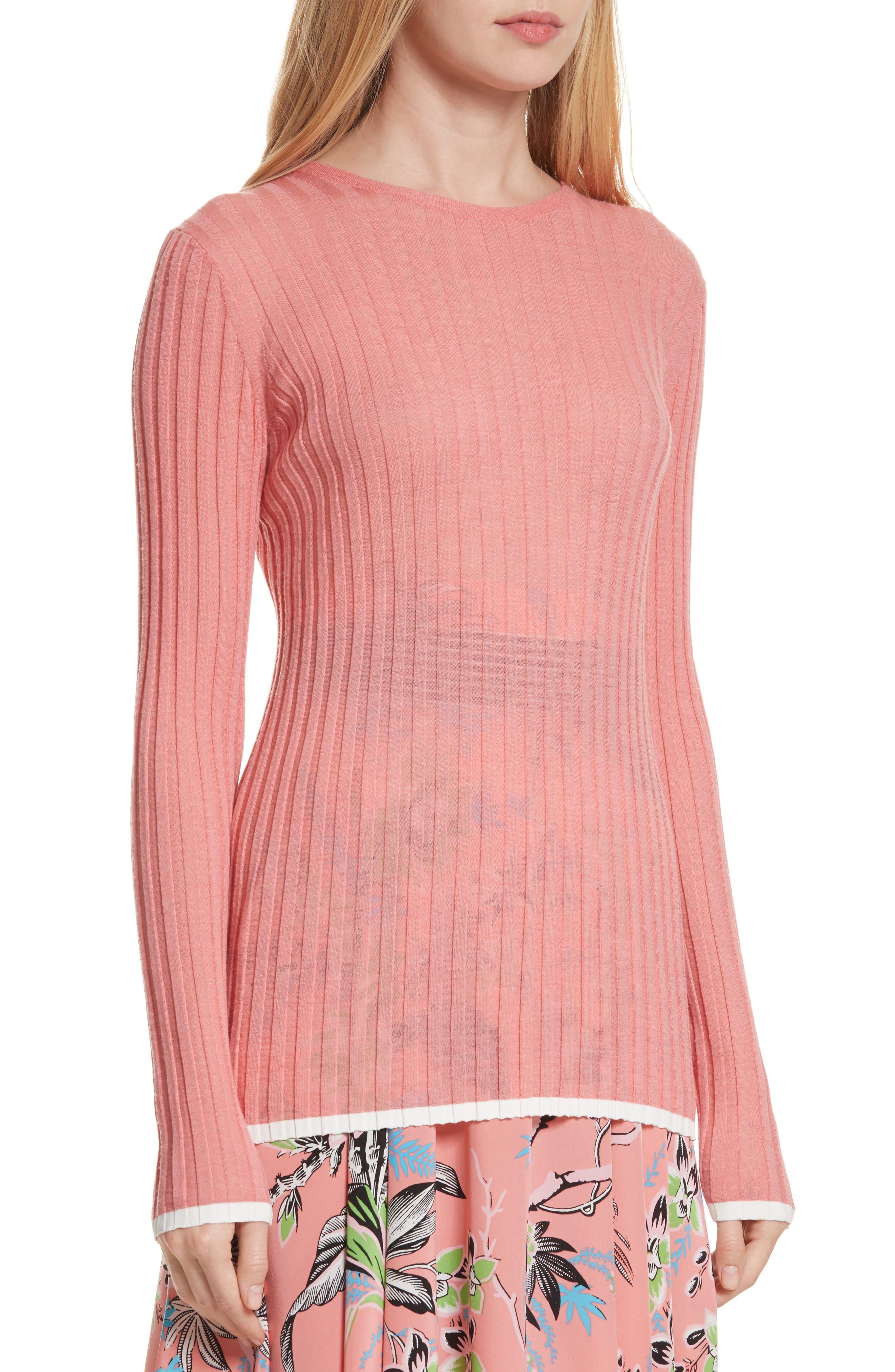 Diane von Furstenberg Ribbed Sweater,                             Alternate thumbnail 4, color,                             Hyacinth/ Ivory