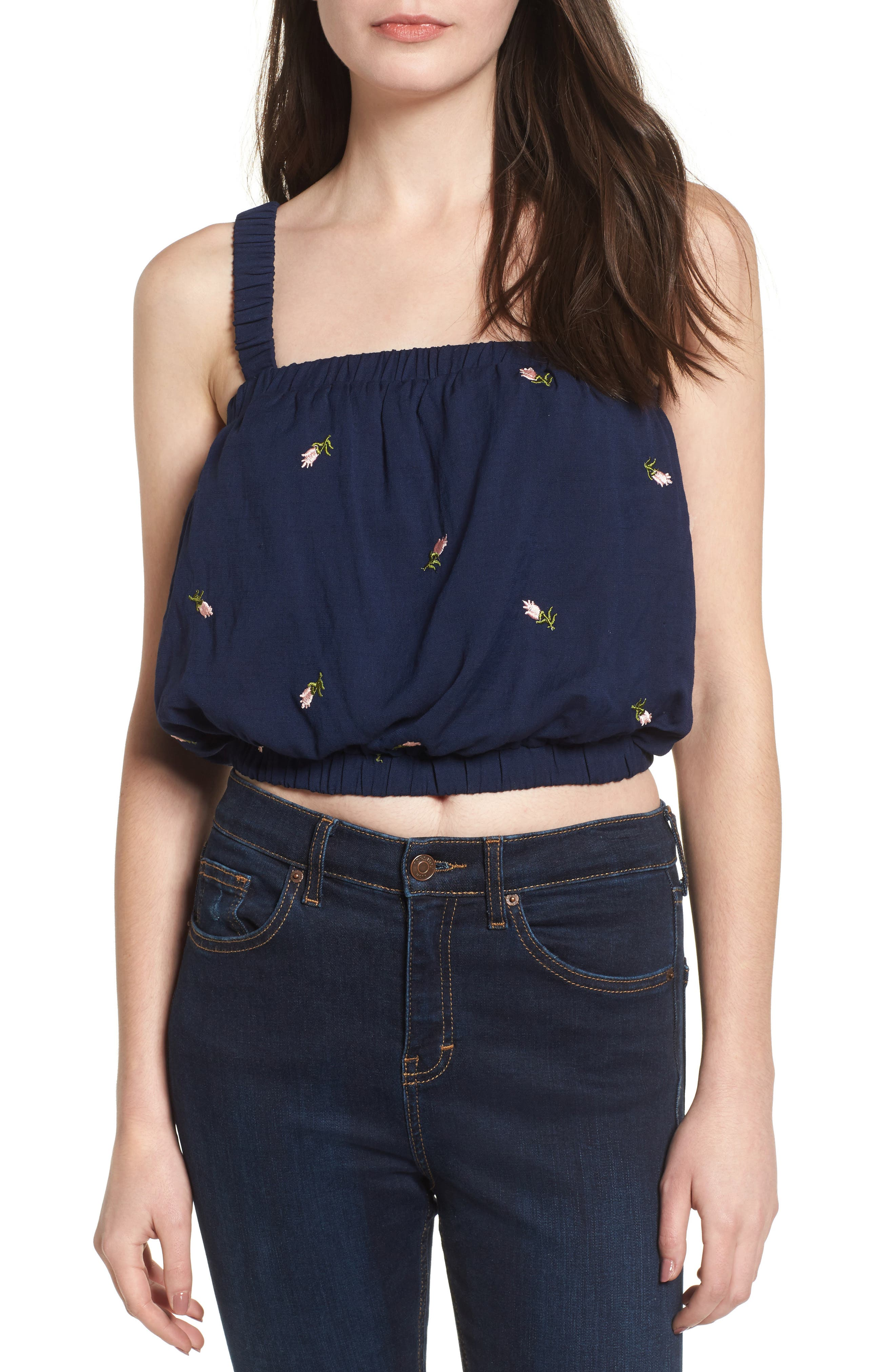 Embroidered Crop Top,                         Main,                         color, Navy