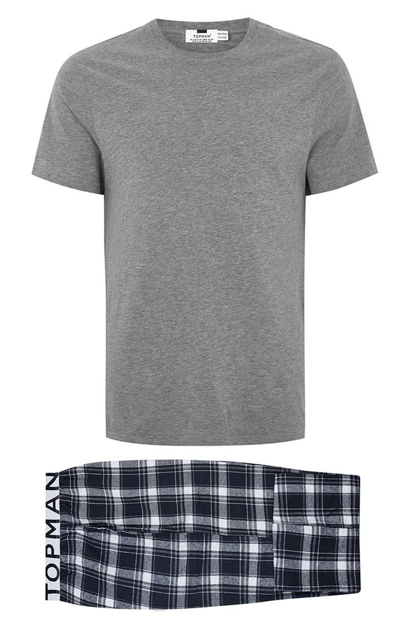 Check Pajama Set,                             Alternate thumbnail 6, color,                             Dark Blue