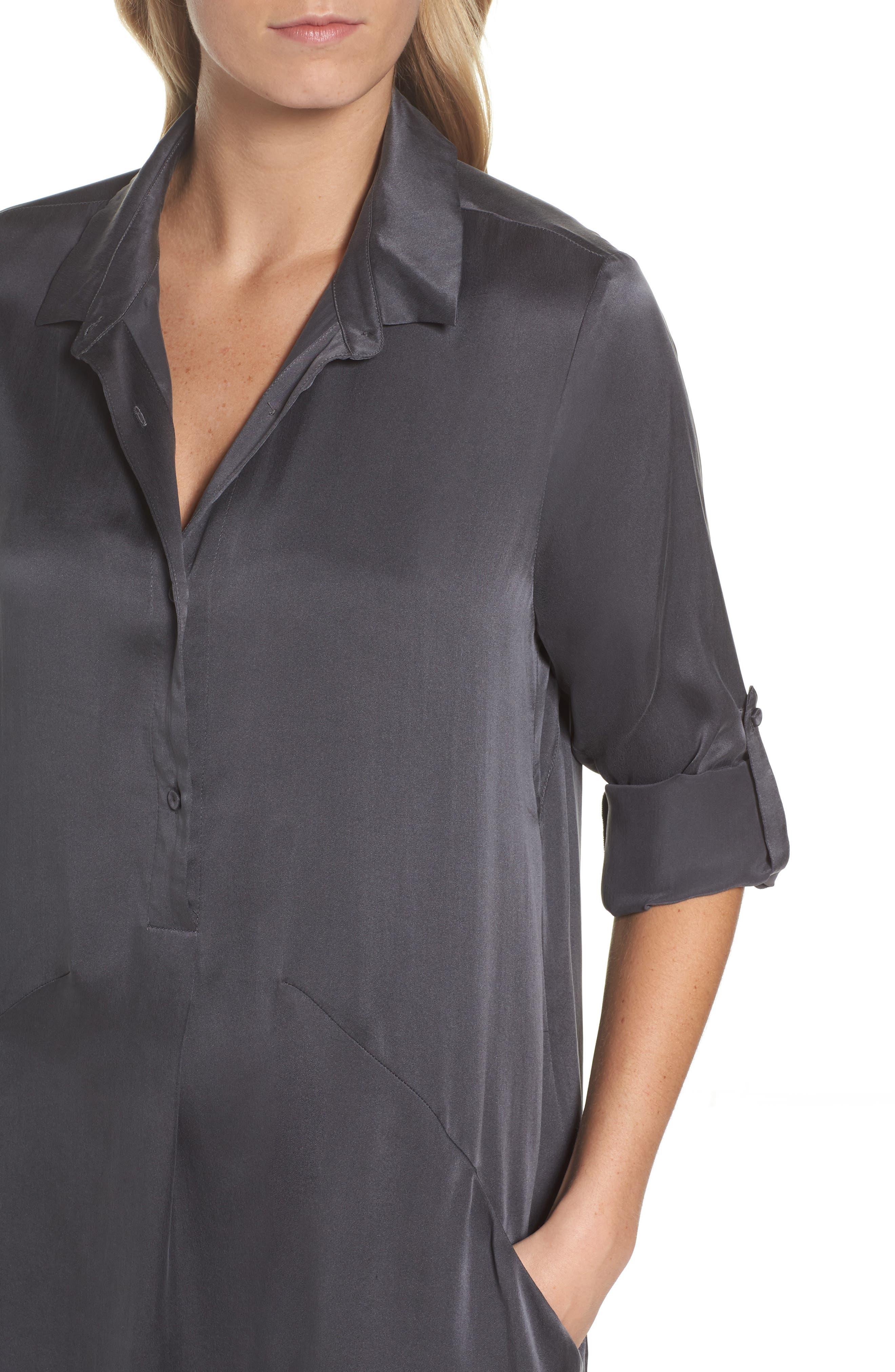 Silk Sleep Shirt,                             Alternate thumbnail 5, color,                             Dark Slate