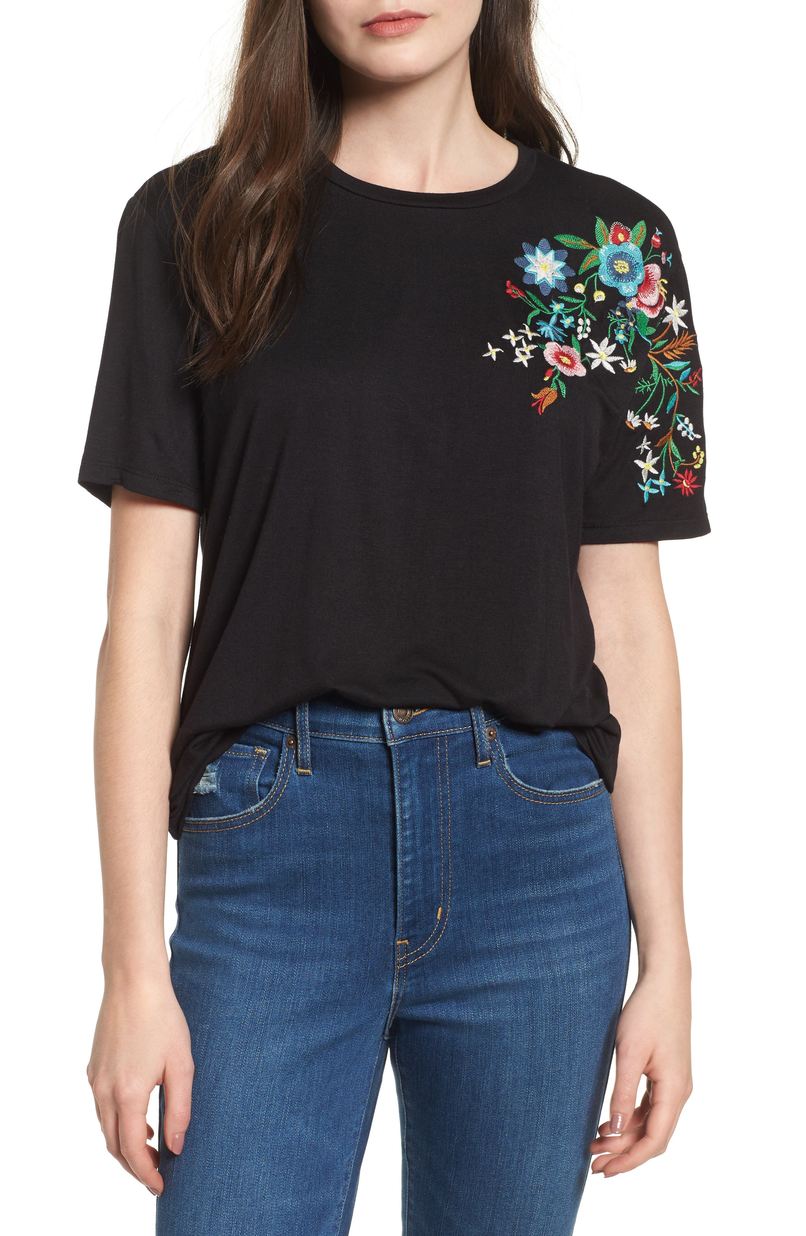 Floral Tee,                             Main thumbnail 1, color,                             Black