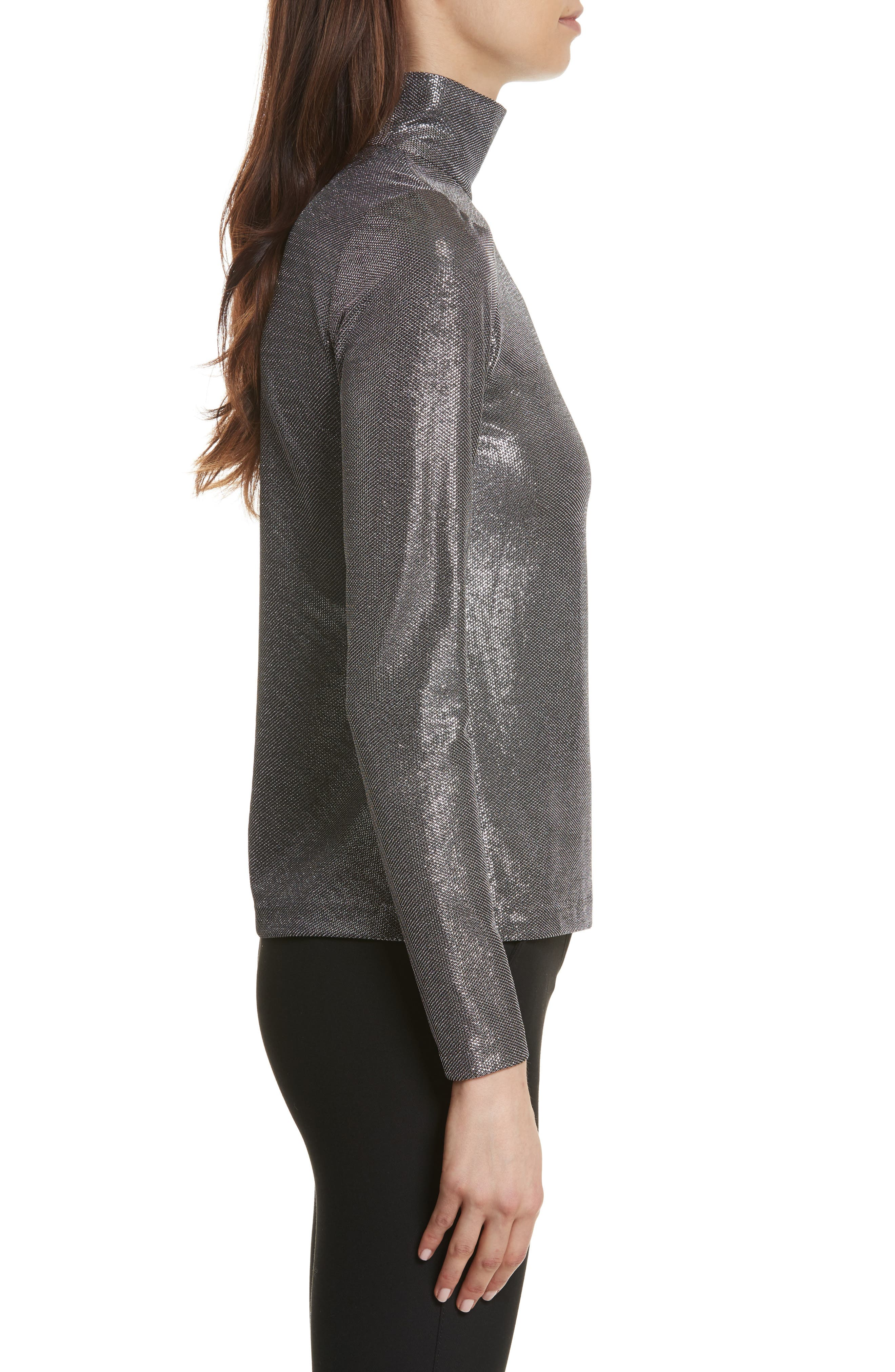 Silver Turtleneck Top,                             Alternate thumbnail 3, color,                             Antique Silver