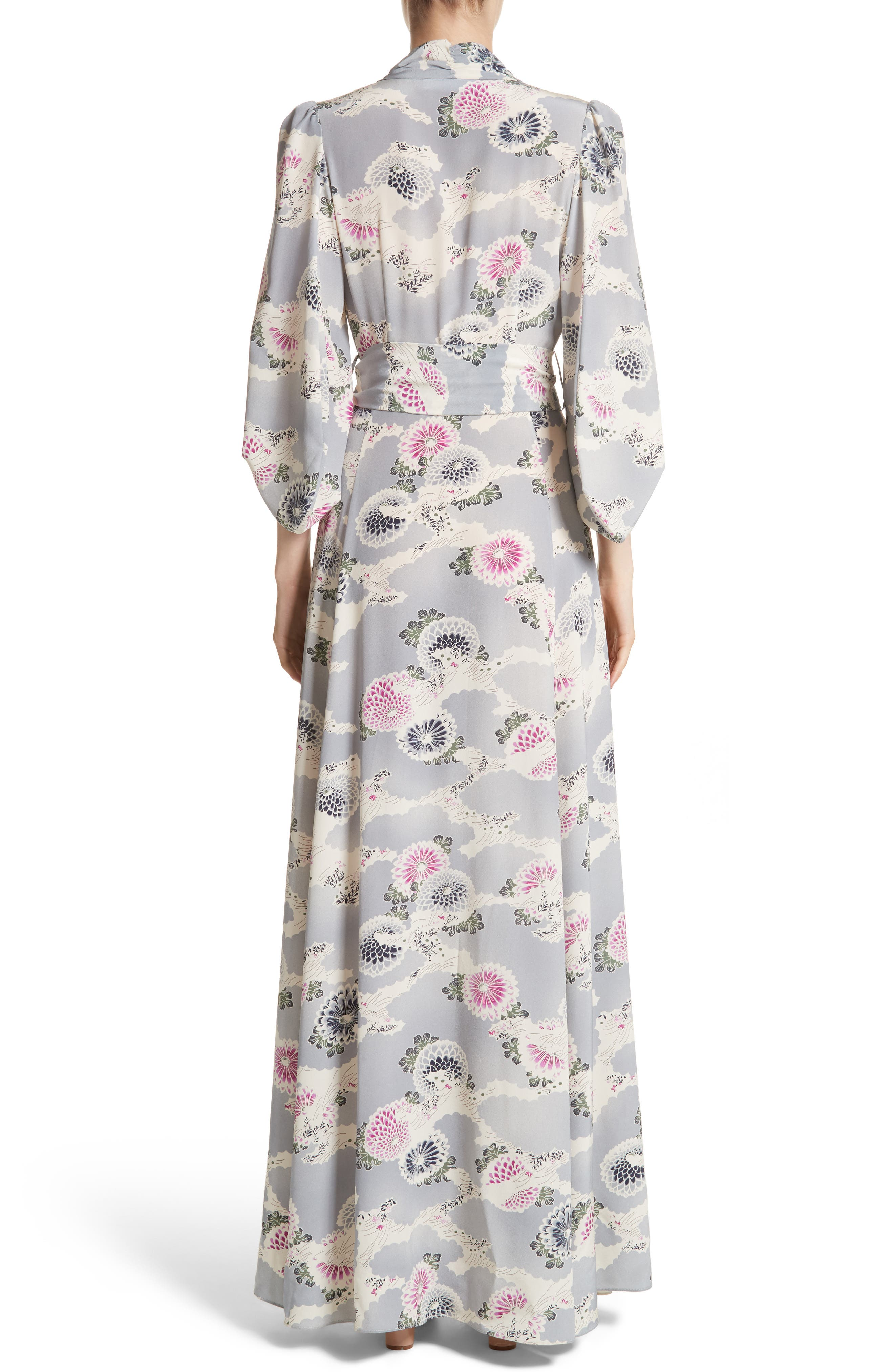 Floral Print Silk Crêpe de Chine Maxi Wrap Dress,                             Alternate thumbnail 3, color,                             Chrysanthemum Print