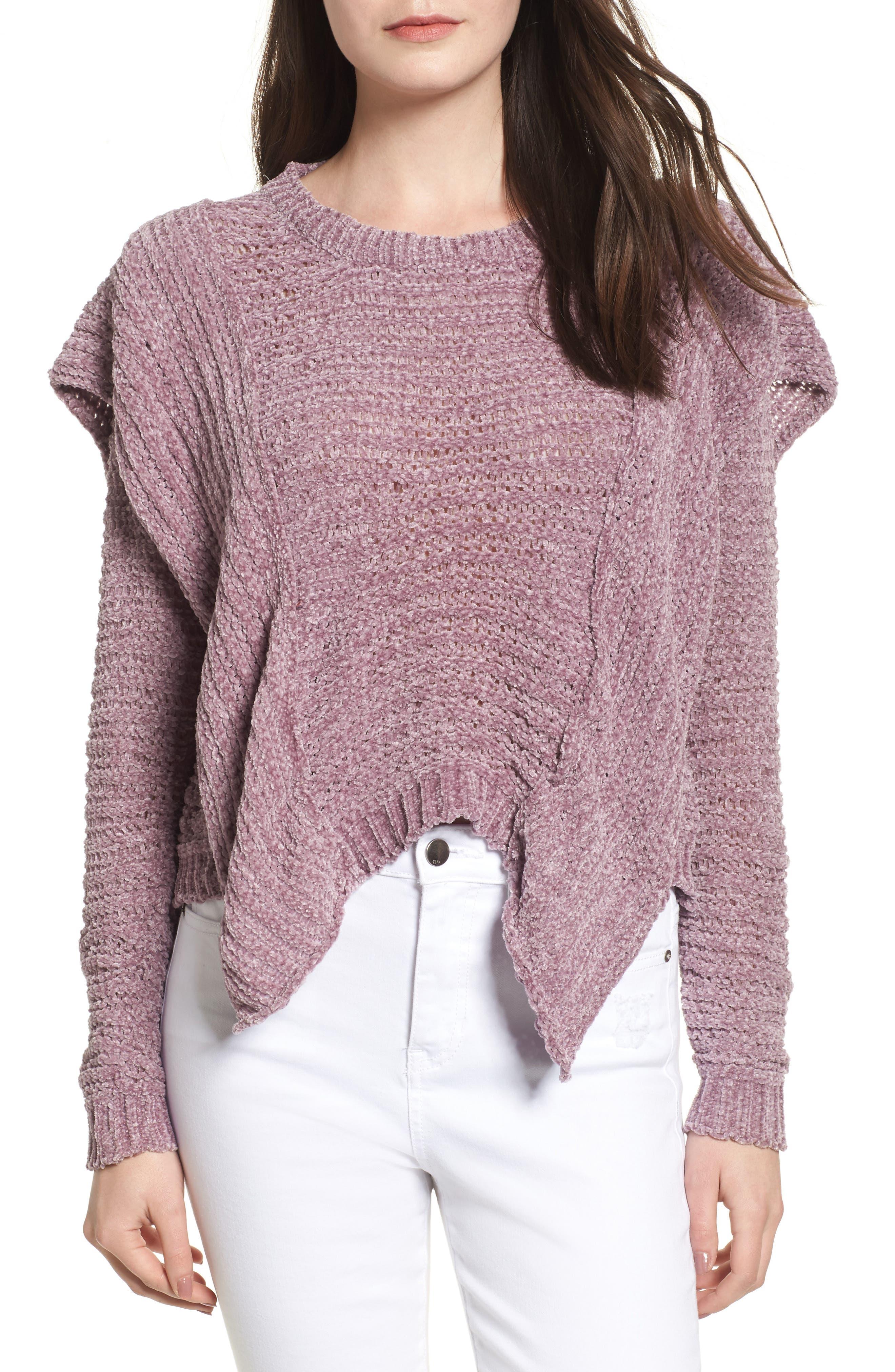 Woven Heart Ruffle Chenille Sweater