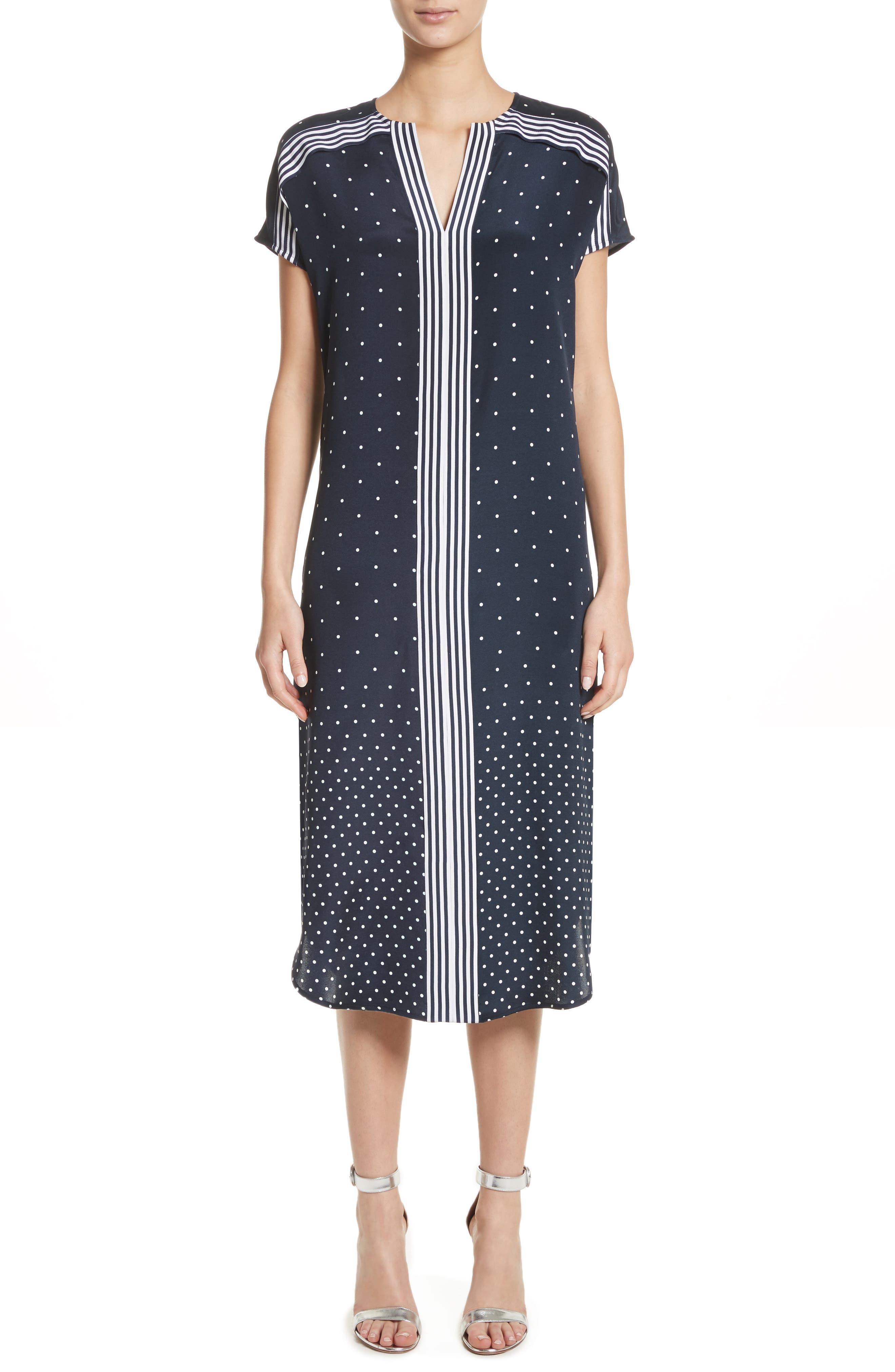 Dot & Stripe Stretch Dress,                             Main thumbnail 1, color,                             Navy