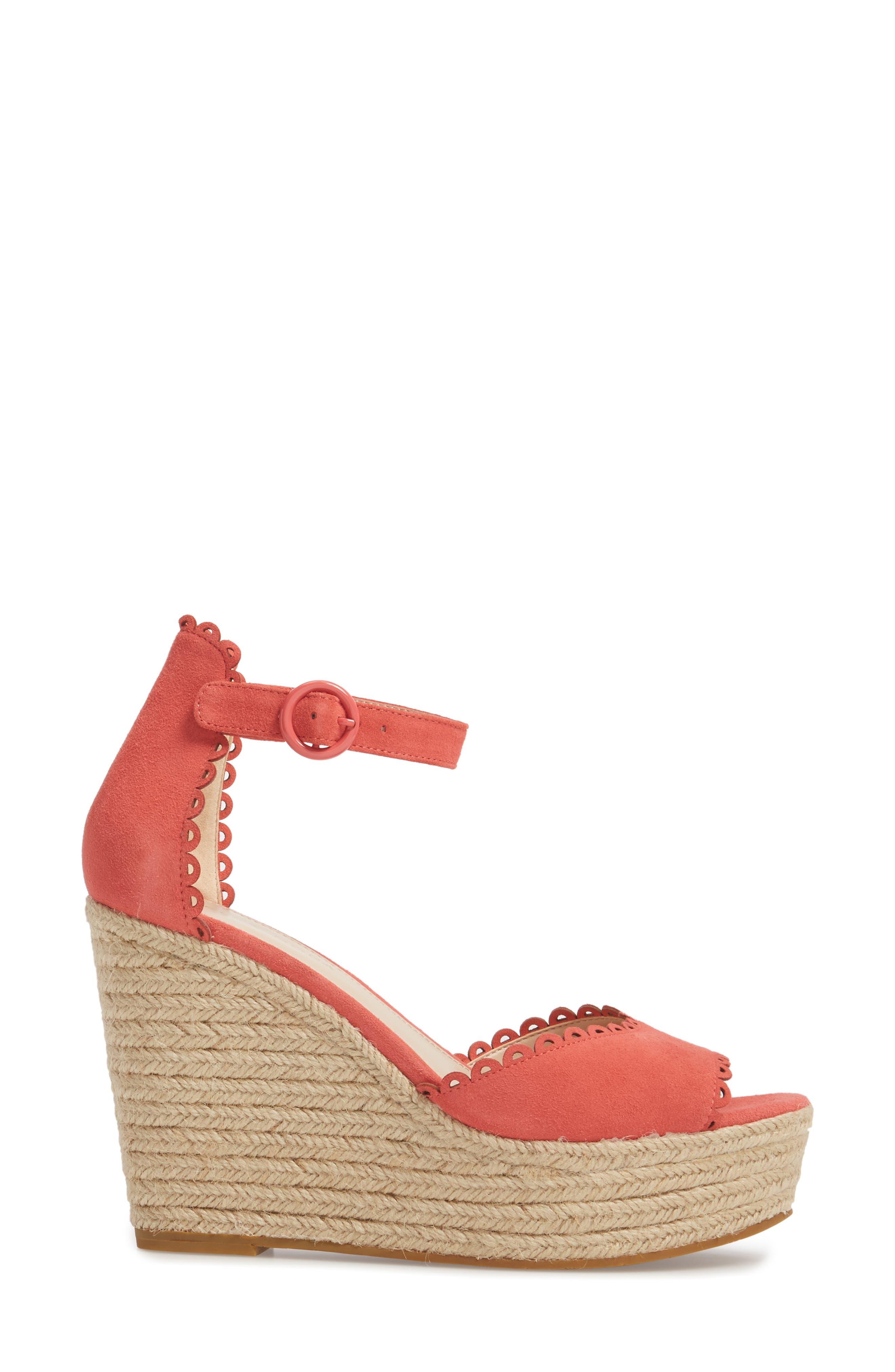 Raine Platform Espadrille Sandal,                             Alternate thumbnail 3, color,                             Flamingo Suede