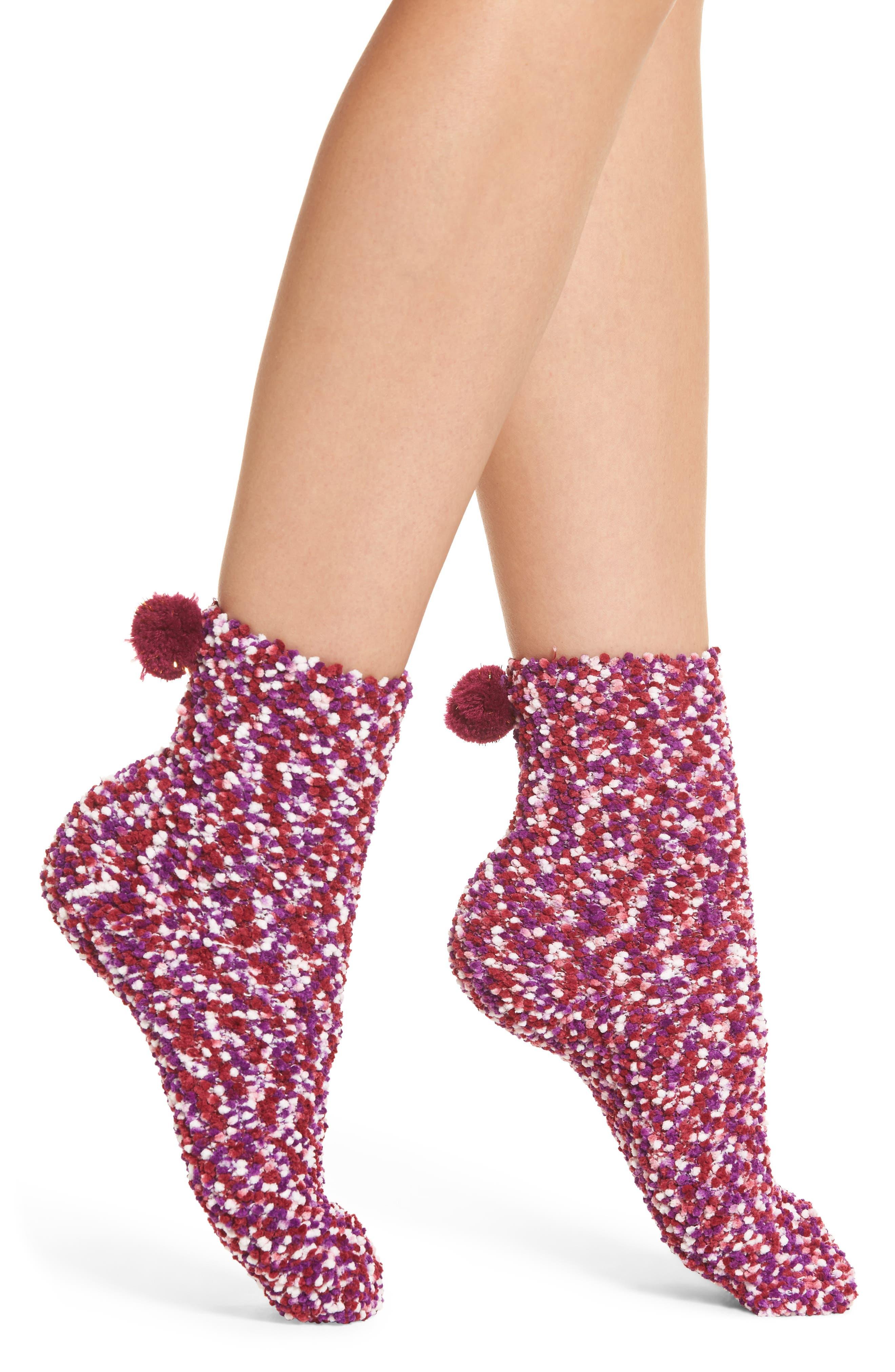 Pom Socks,                         Main,                         color, Pink Multi