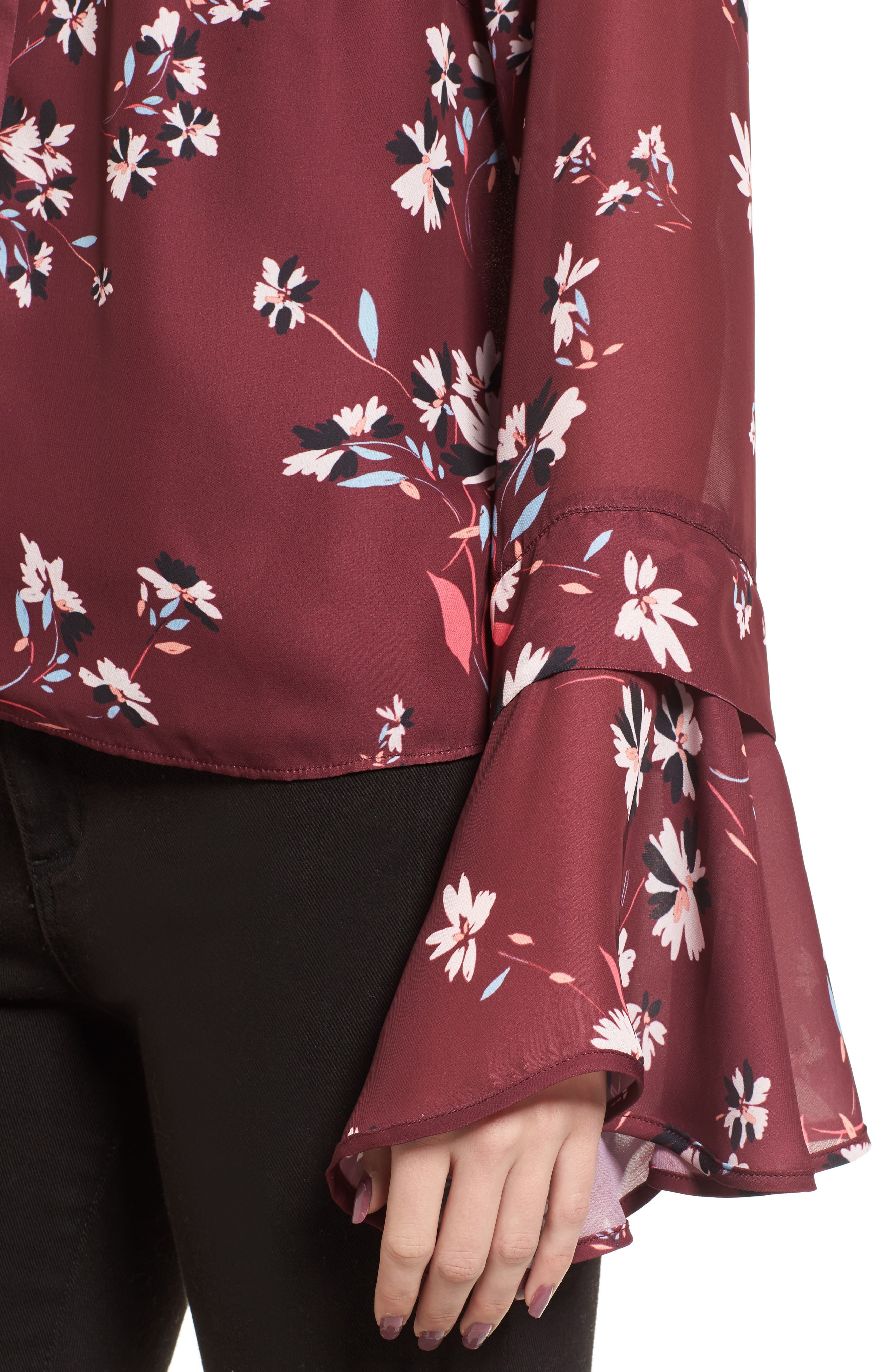 Sonoma Bell Sleeve Blouse,                             Alternate thumbnail 4, color,                             Lotus