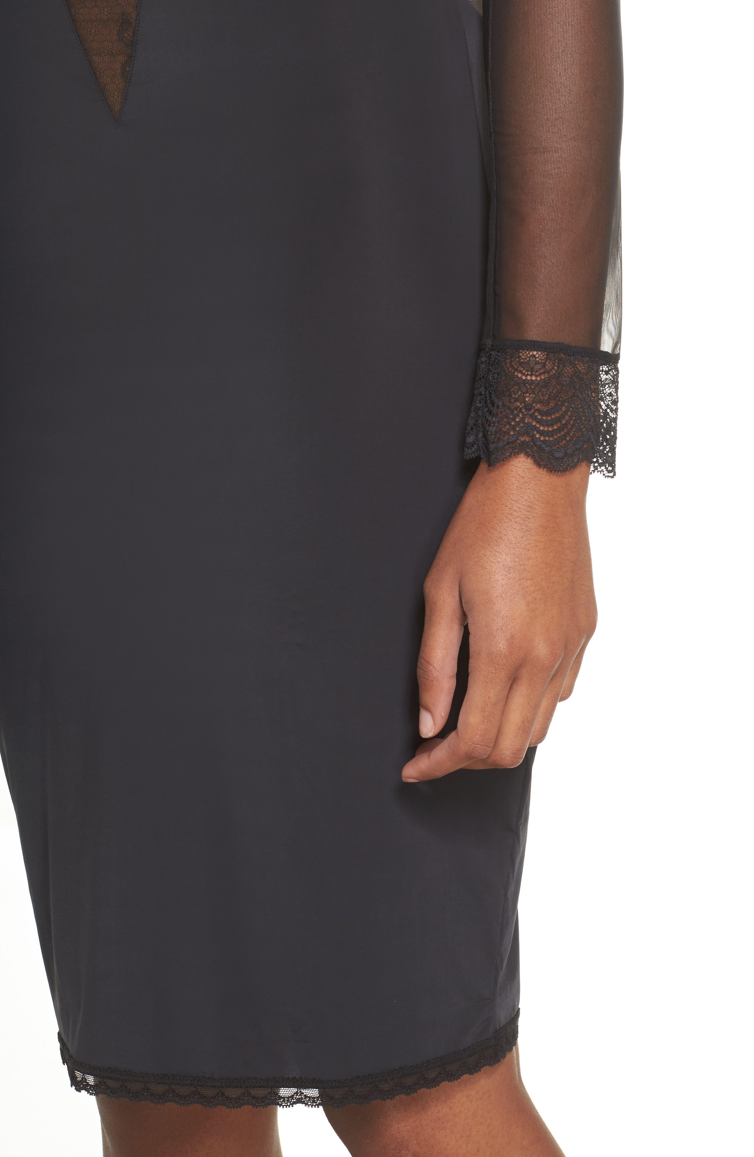 La Directrice Sheer Dress,                             Alternate thumbnail 5, color,                             Black