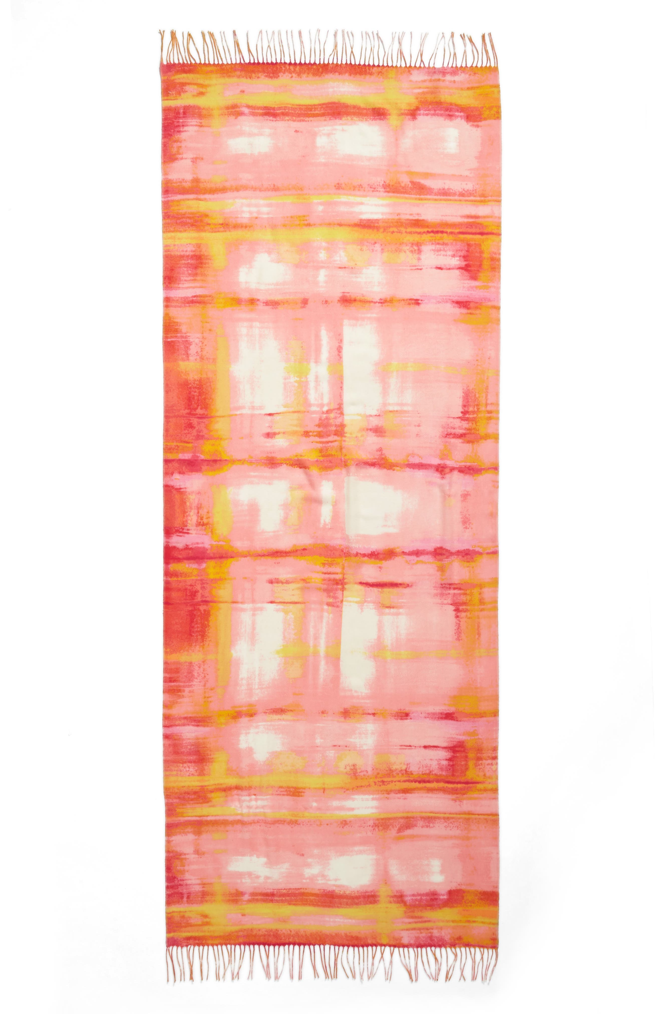 Tissue Print Wool & Cashmere Wrap Scarf,                             Alternate thumbnail 3, color,                             Pink Rainwater Plaid Print