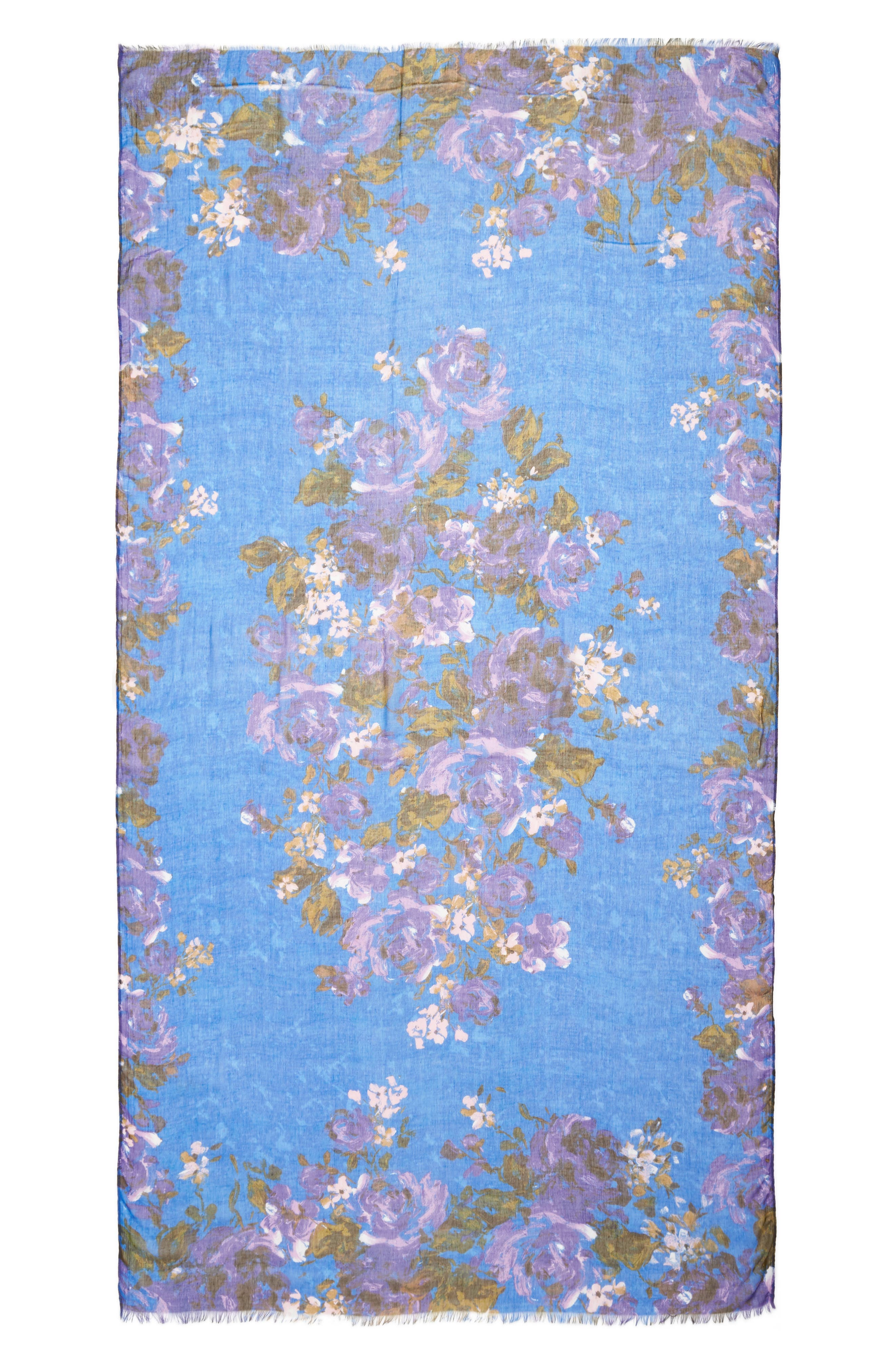 Print Modal & Silk Scarf,                             Alternate thumbnail 3, color,                             Blue Haute Blooms