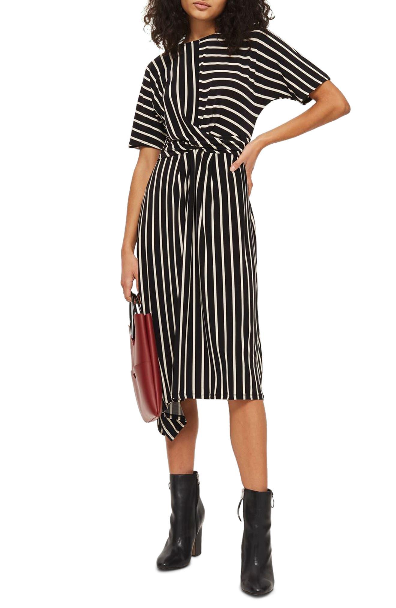 Topshop Stripe Jersey Drape Midi Dress