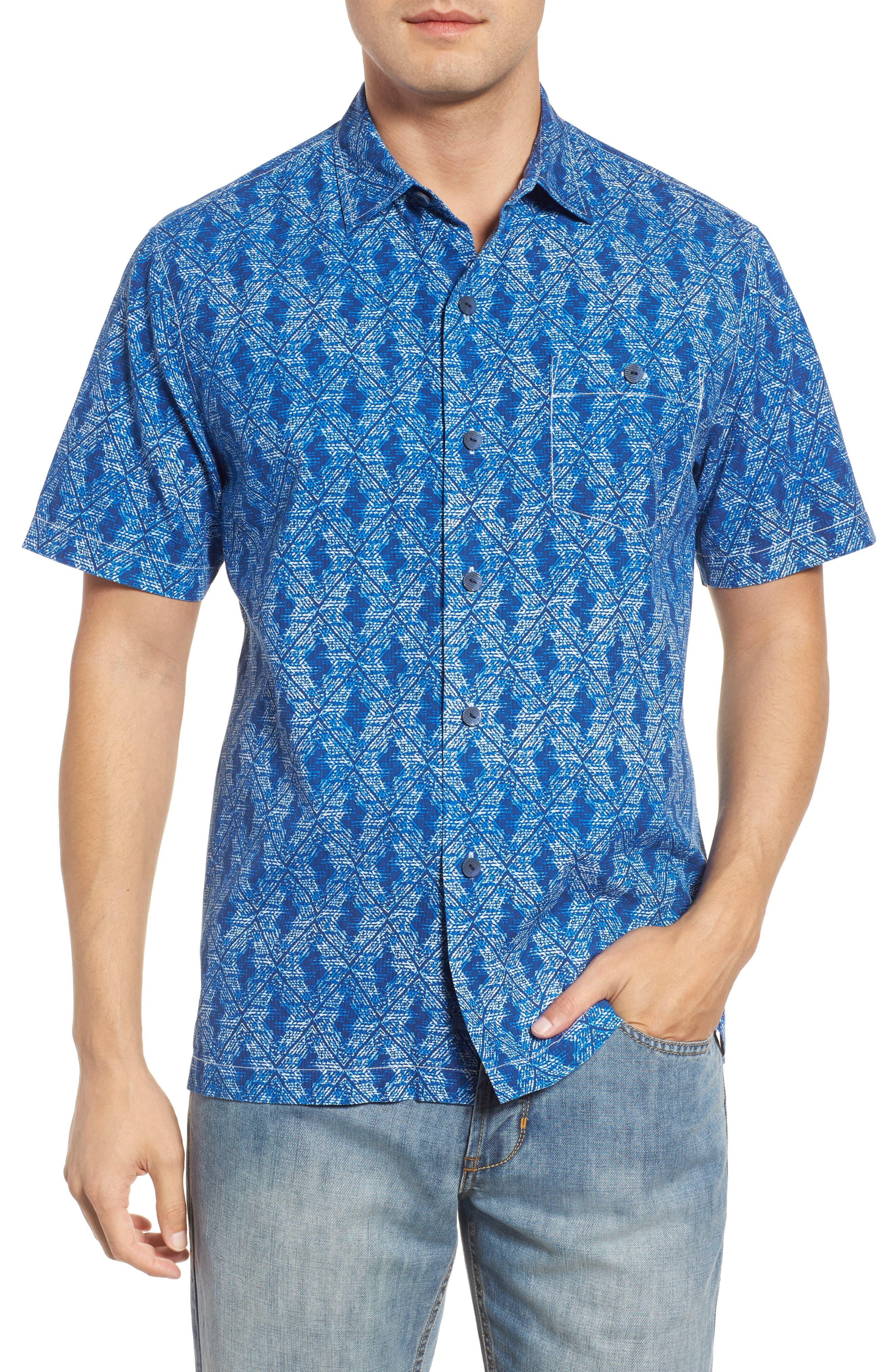 Del Ray Diamond Sport Shirt,                         Main,                         color, Kingdom Blue