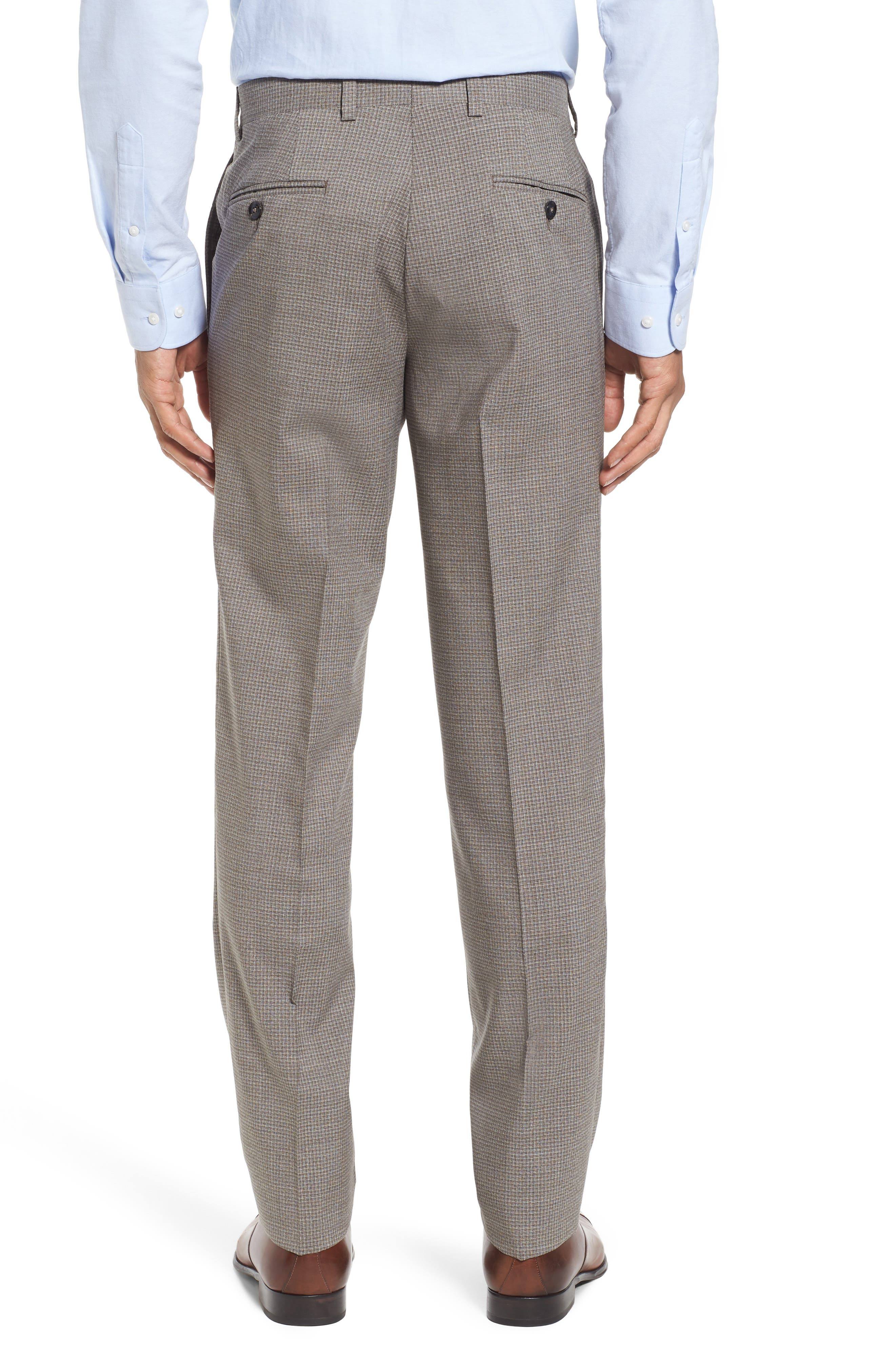 Flat Front Check Wool Trousers,                             Alternate thumbnail 2, color,                             Tan