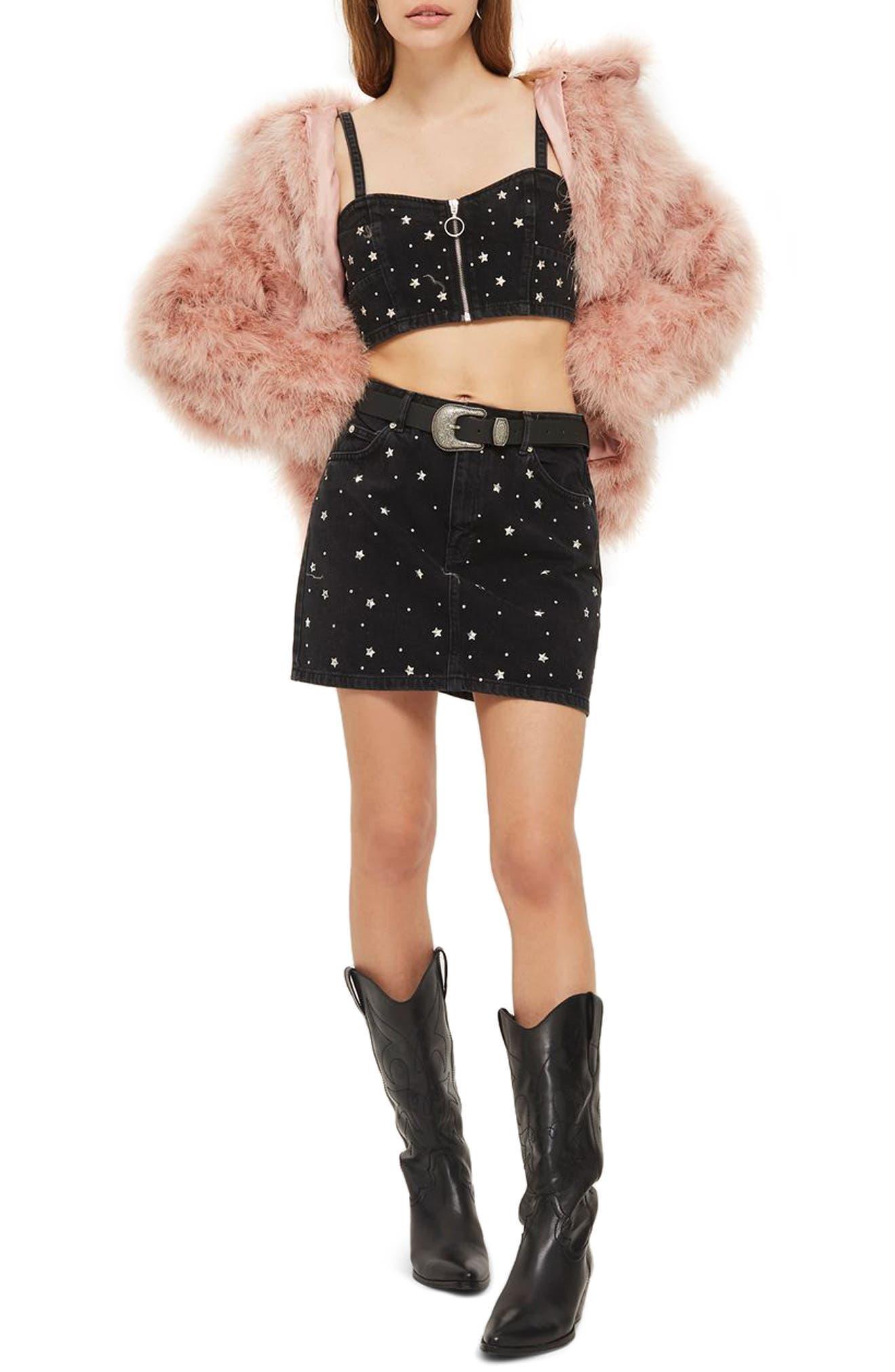 Star Studded Denim Skirt,                             Main thumbnail 1, color,                             Washed Black