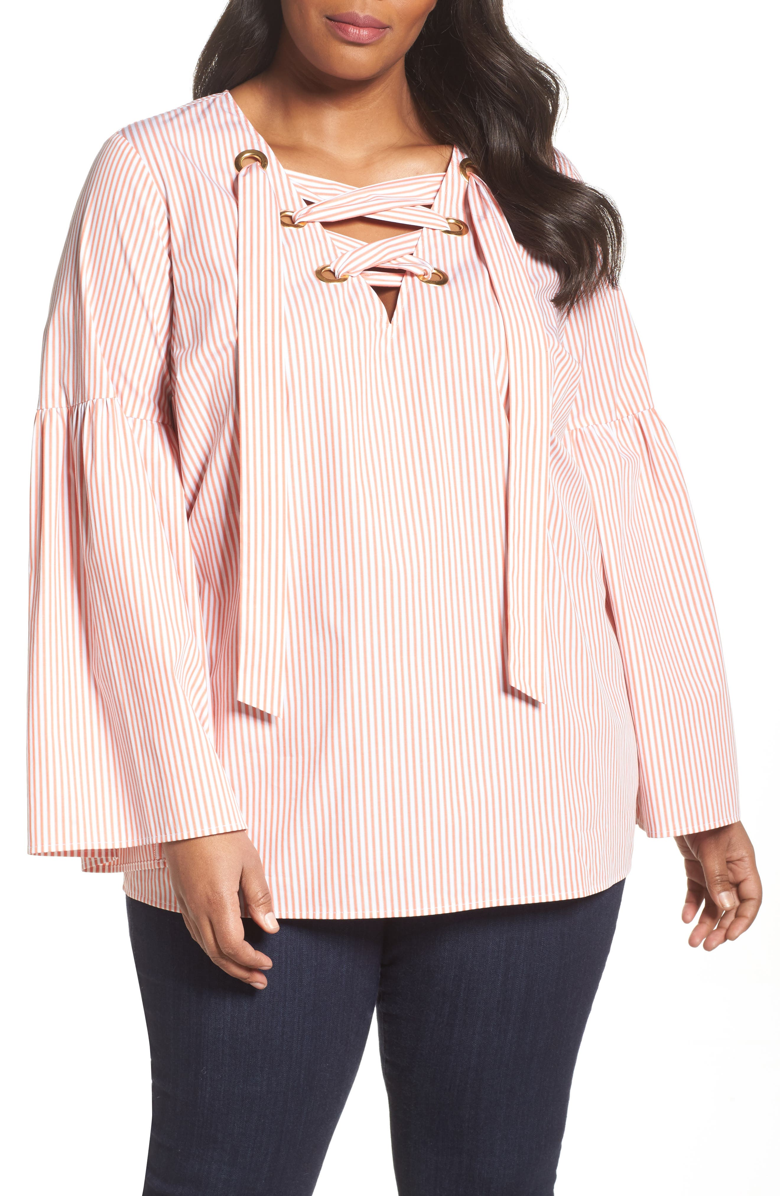 MICHAEL Michael Kors Lace-Up Bell Sleeve Top (Plus Size)