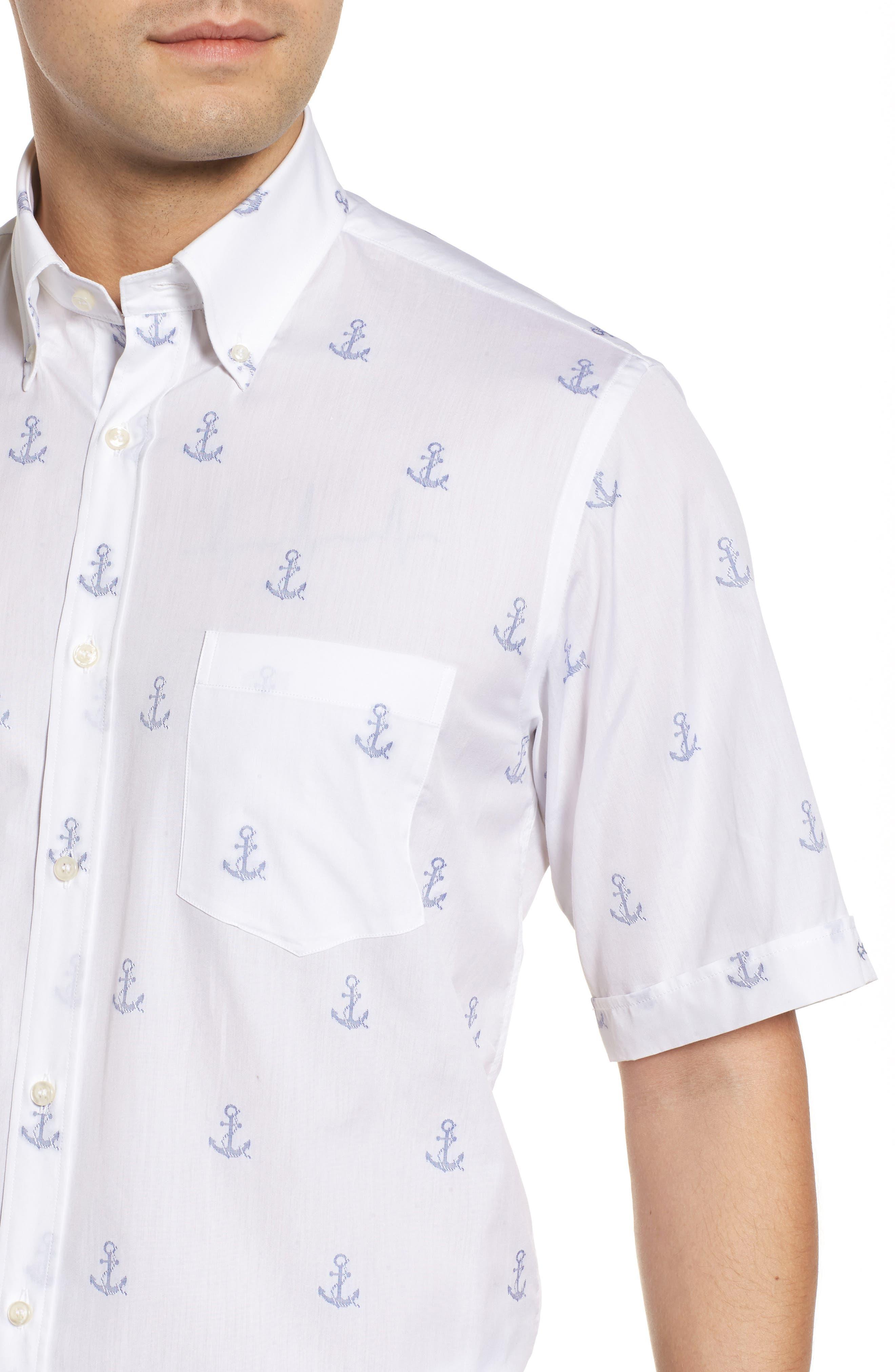 Paul&Shark Regular Fit Anchor Sport Shirt,                             Alternate thumbnail 4, color,                             White
