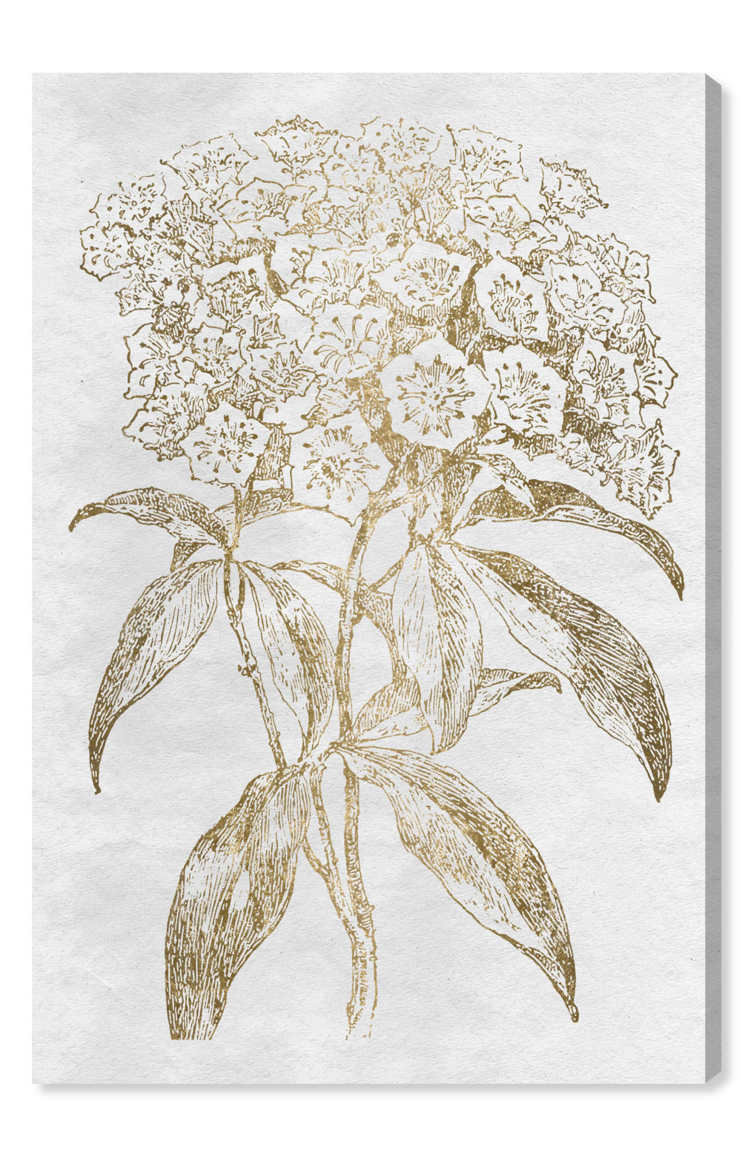 Floral Sketch Gold Canvas Wall Art,                             Main thumbnail 1, color,                             Metallic Gold