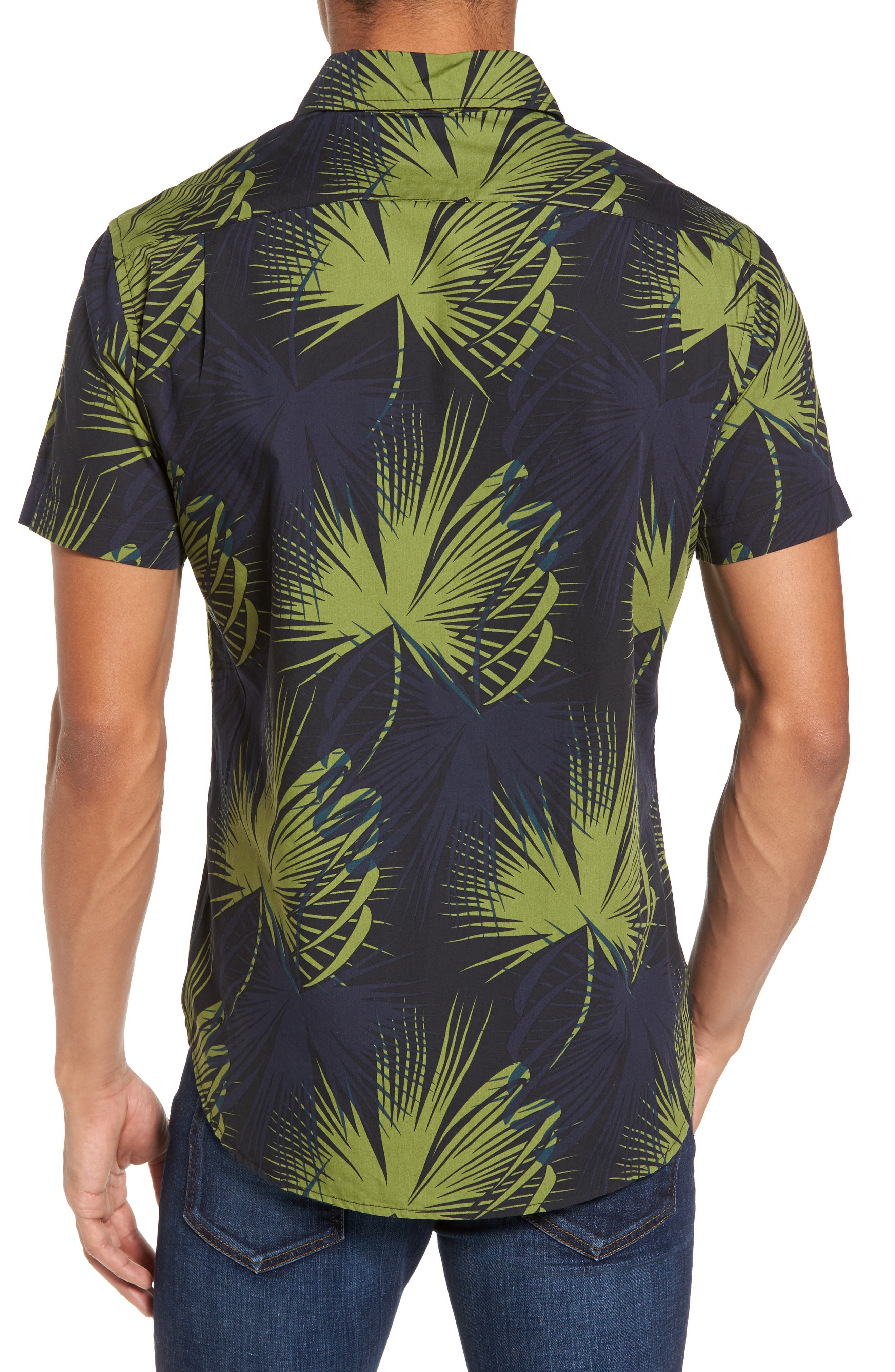 Slim Fit Frond Print Sport Shirt,                             Alternate thumbnail 2, color,                             Palm Shade Calla Green