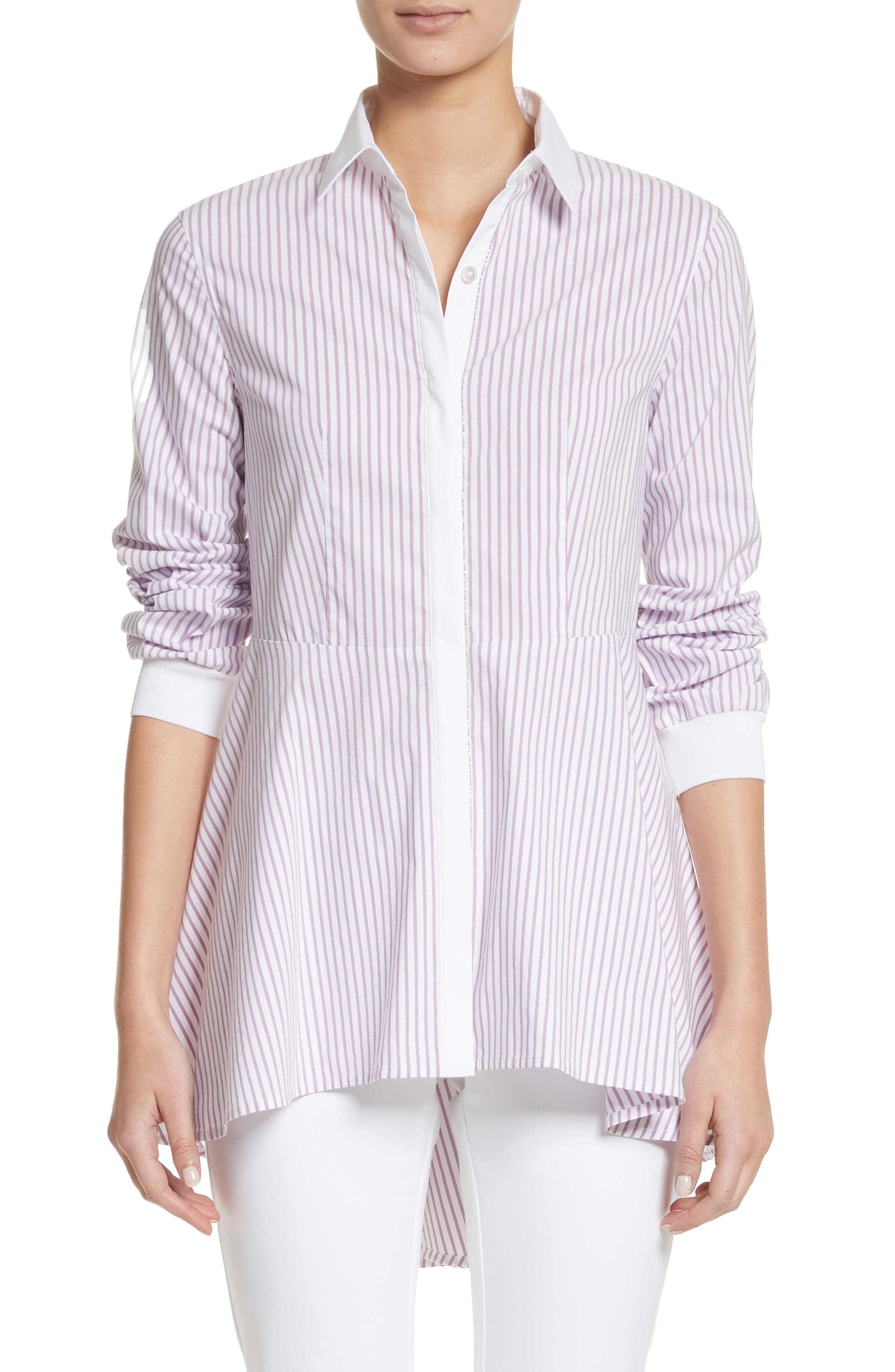 Pinstripe Cotton Blend Top,                         Main,                         color, Orchid/ Bianco