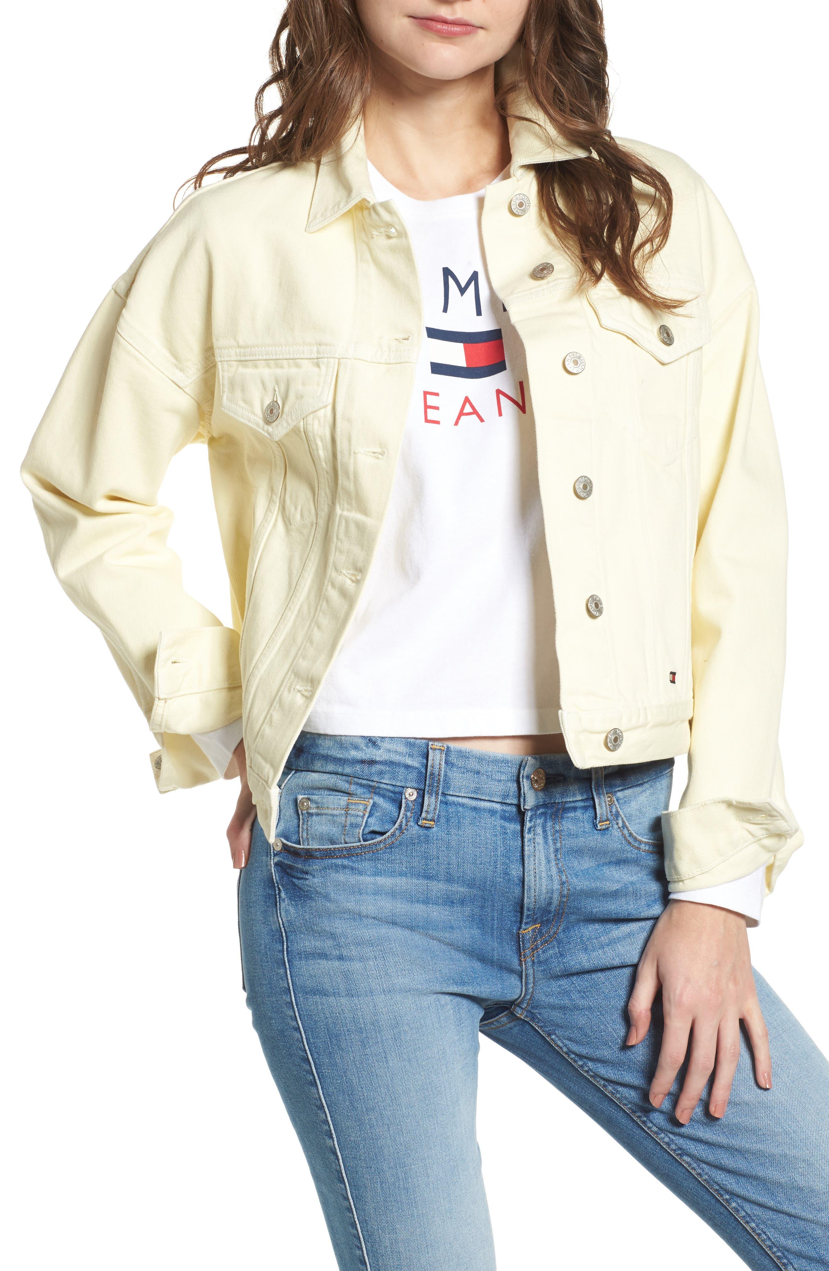 '90s Girlfriend Trucker Jacket,                         Main,                         color, Lemon Meringue