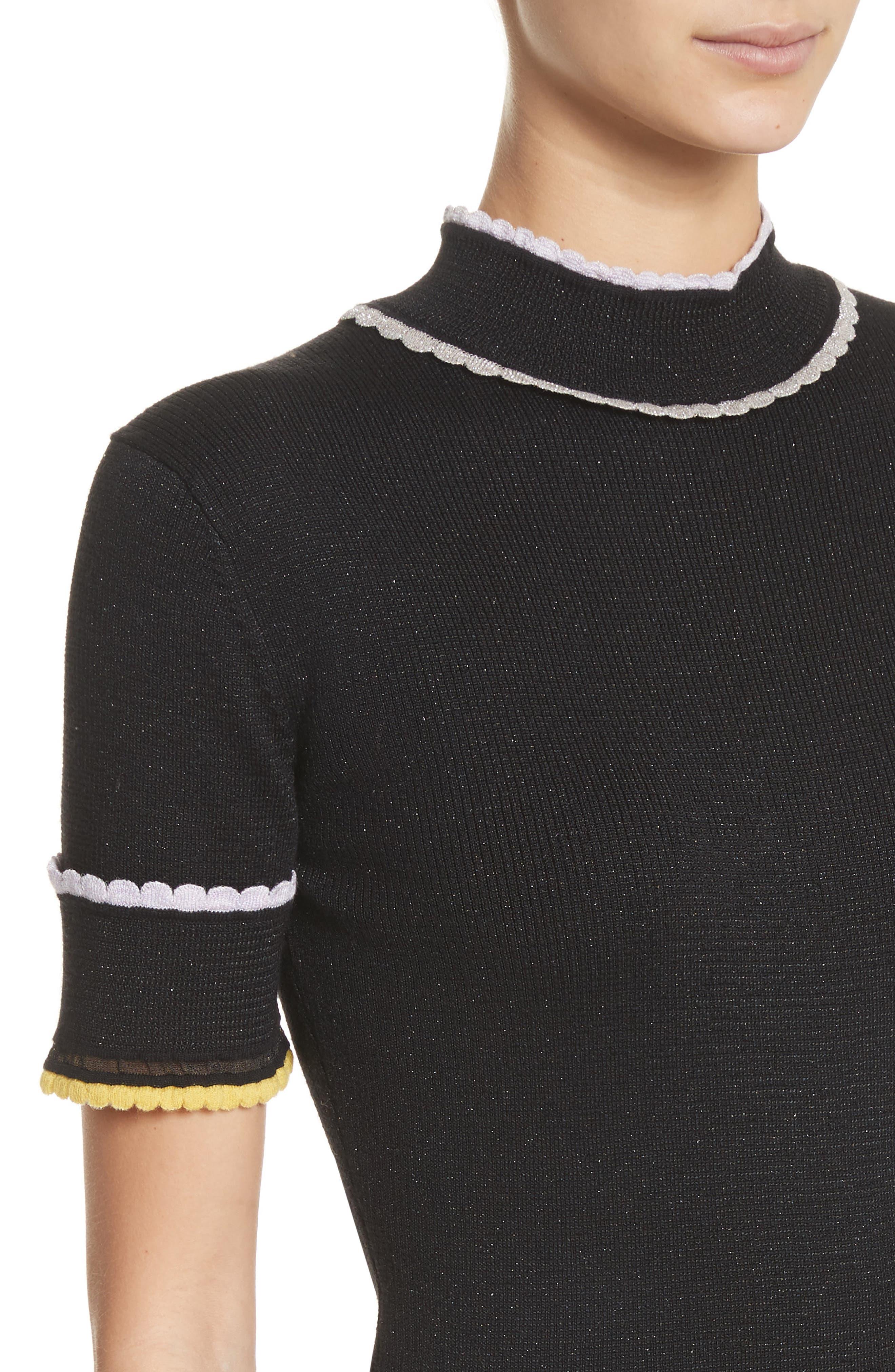 Scallop Trim Knit Top,                             Alternate thumbnail 4, color,                             Caviar Multi
